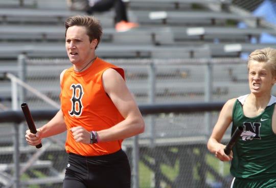 Will Jontz (left) ran on three all-county relays for Brighton last year.