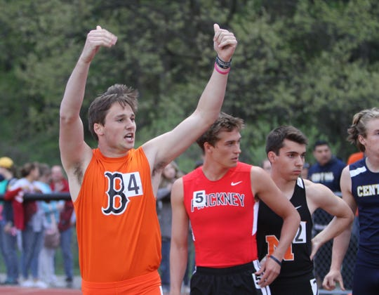 Will Jontz (4) helped Brighton finish second in the 1,600-meter relay in the state meet last year.
