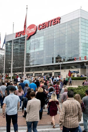 Kenny Chesney fans filled up the sidewalks around the KFC Yum Center on Thursday night as the country music superstar made a tour stop in Louisville. April 4, 2019