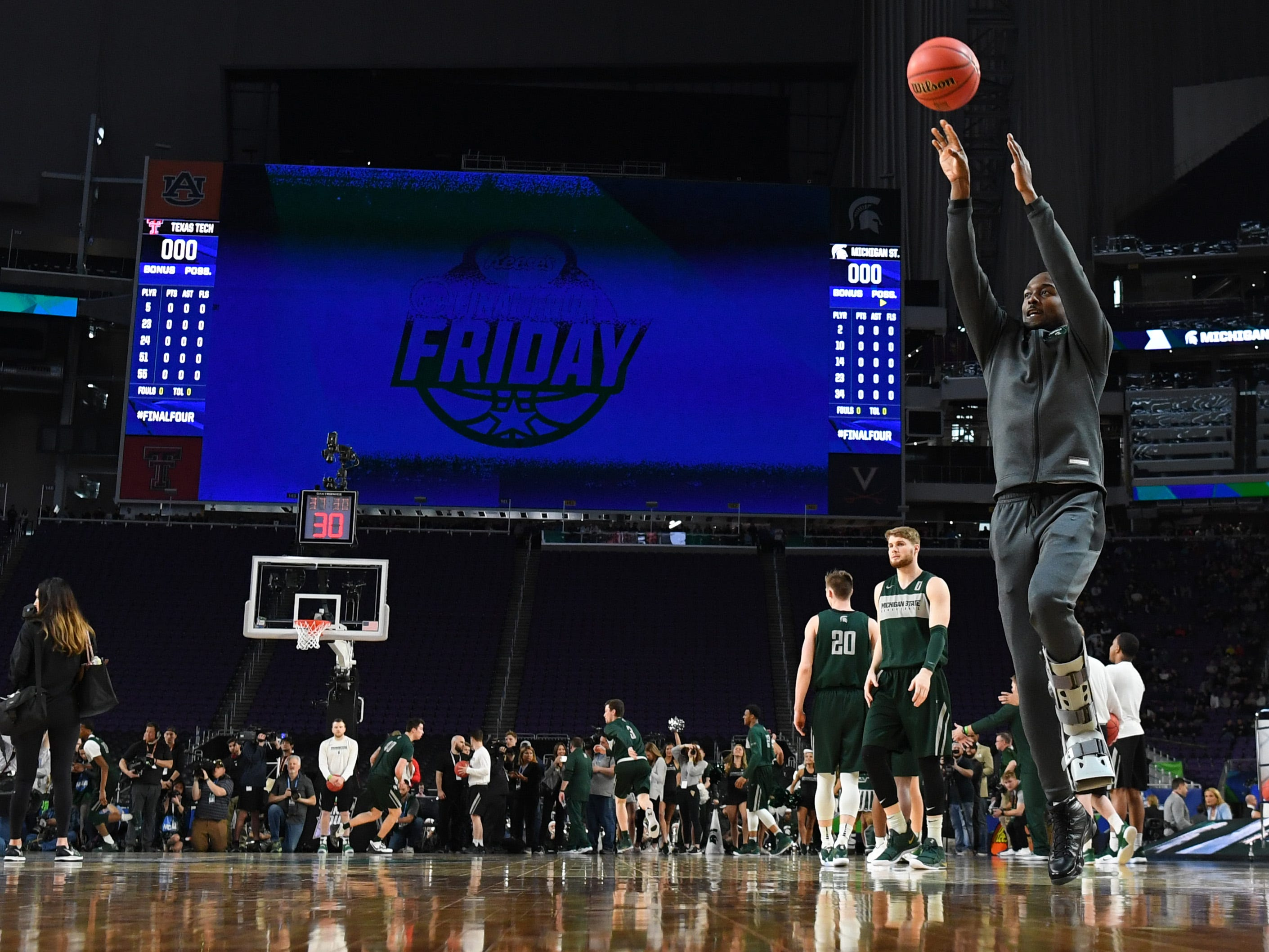 Apr 5, 2019; Minneapolis, MN, USA; Michigan State Spartans injured guard Joshua Langford (1) shooting the ball during practice for the 2019 men's Final Four at US Bank Stadium. Mandatory Credit: Bob Donnan-USA TODAY Sports
