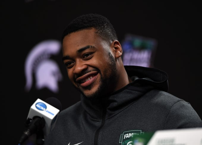 Apr 5, 2019; Minneapolis, MN, USA; Michigan State Spartans forward Nick Ward (44) speaks during a press conference before practice for the 2019 men's Final Four at US Bank Stadium. Mandatory Credit: Shanna Lockwood-USA TODAY Sports