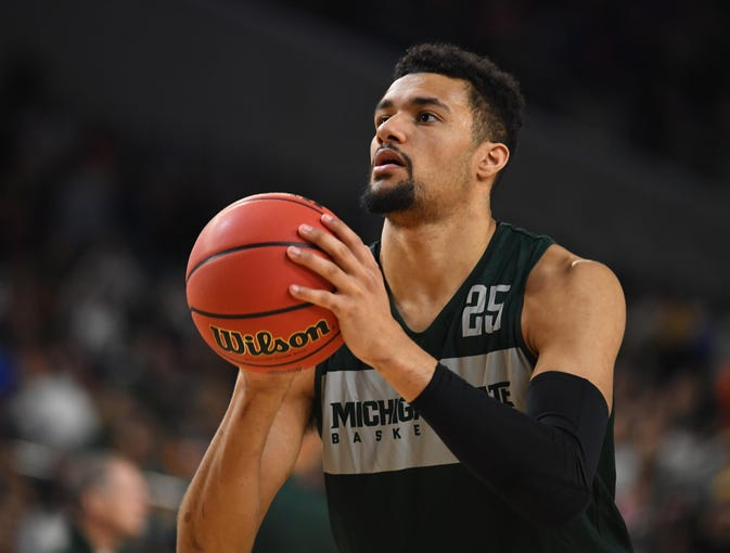 Apr 5, 2019; Minneapolis, MN, USA; Michigan State Spartans forward Kenny Goins (25) during practice for the 2019 men's Final Four at US Bank Stadium. Mandatory Credit: Robert Deutsch-USA TODAY Sports