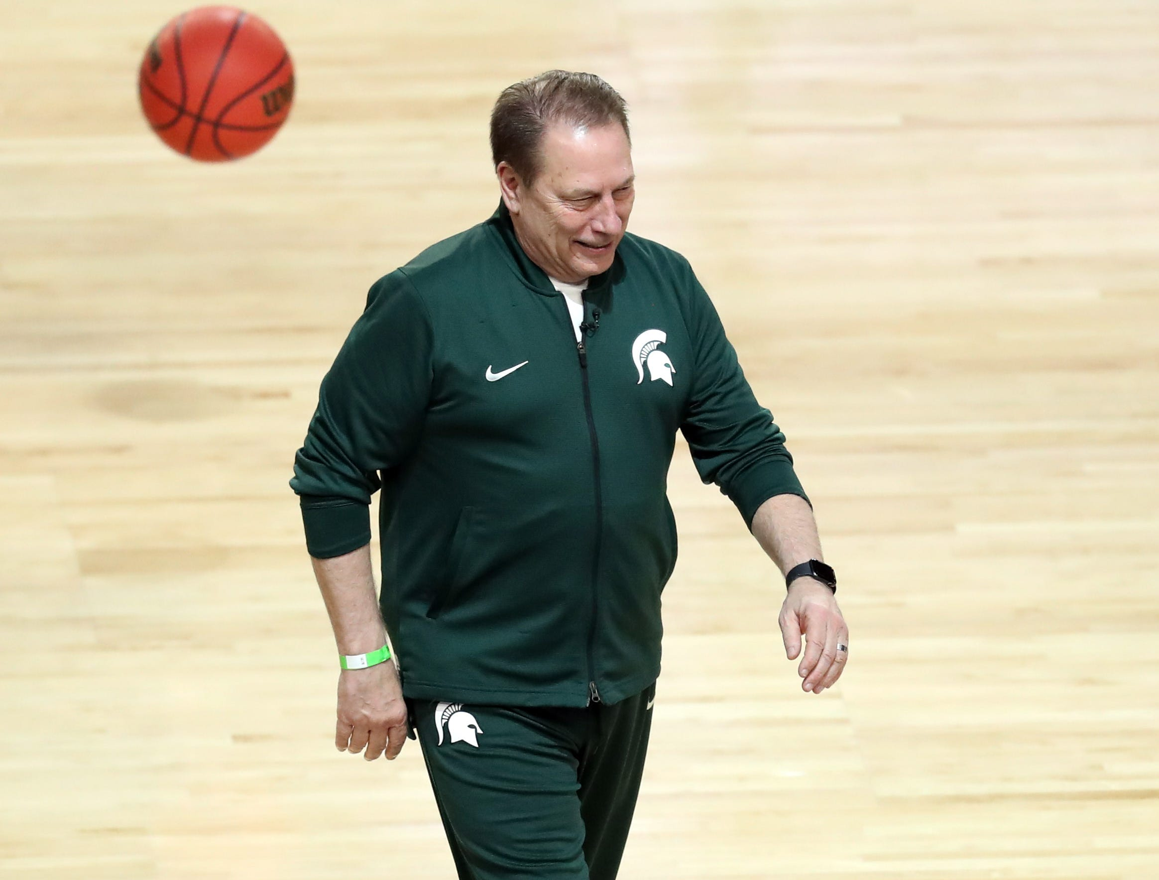 Apr 5, 2019; Minneapolis, MN, USA; Michigan State Spartans head coach Tom Izzo walks onto the court during practice for the 2019 men's Final Four at US Bank Stadium. Mandatory Credit: Brace Hemmelgarn-USA TODAY Sports