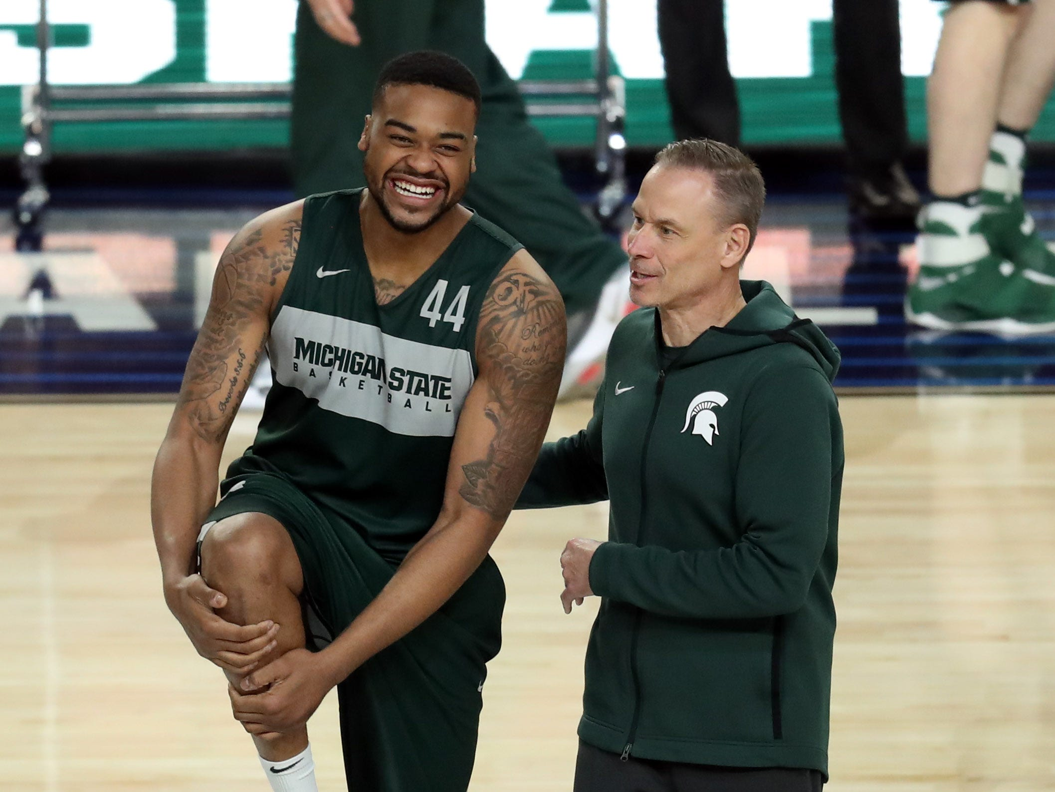 Apr 5, 2019; Minneapolis, MN, USA; Michigan State Spartans forward Nick Ward (44) with recruiting coordinator Doug Wojcik during practice for the 2019 men's Final Four at US Bank Stadium. Mandatory Credit: Brace Hemmelgarn-USA TODAY Sports