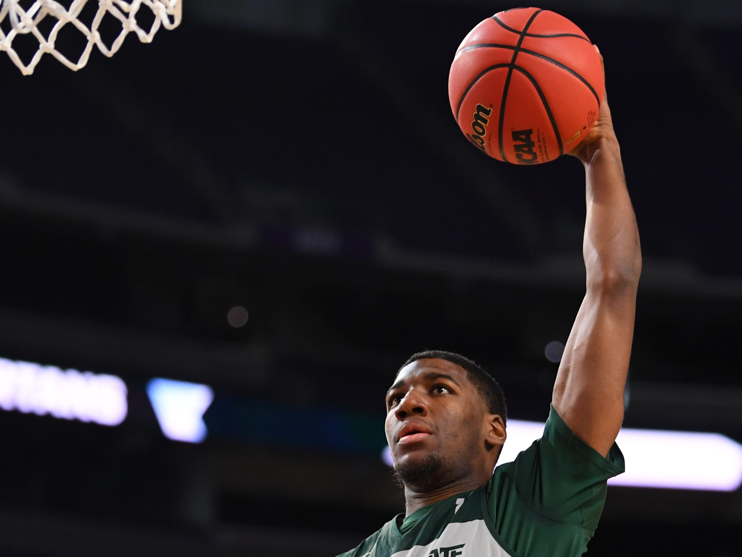 Apr 5, 2019; Minneapolis, MN, USA; Michigan State Spartans forward Aaron Henry (11) shoots during practice for the 2019 men's Final Four at US Bank Stadium. Mandatory Credit: Bob Donnan-USA TODAY Sports