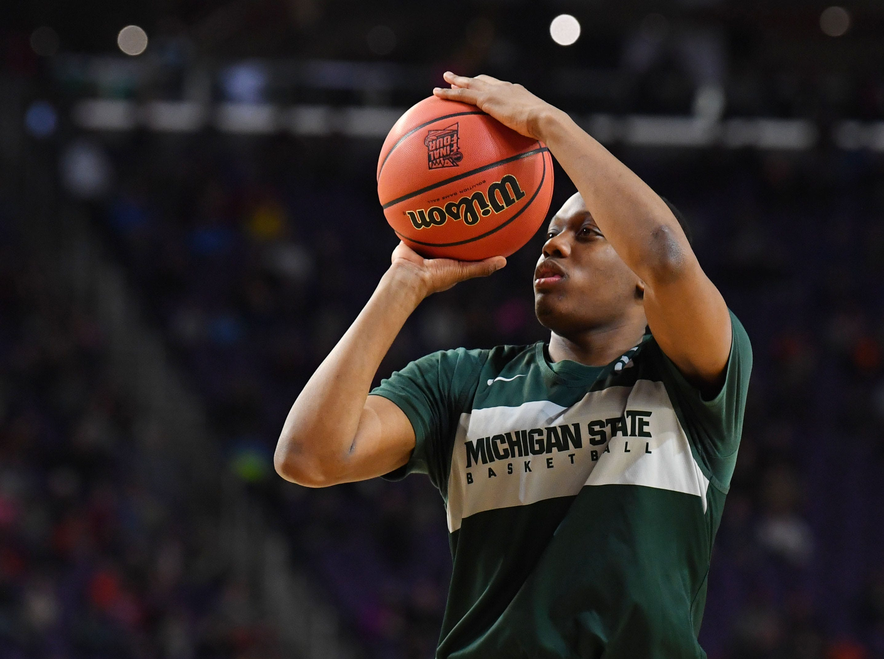 Apr 5, 2019; Minneapolis, MN, USA; Michigan State Spartans guard Cassius Winston shoots during practice for the 2019 men's Final Four at US Bank Stadium. Mandatory Credit: Robert Deutsch-USA TODAY Sports