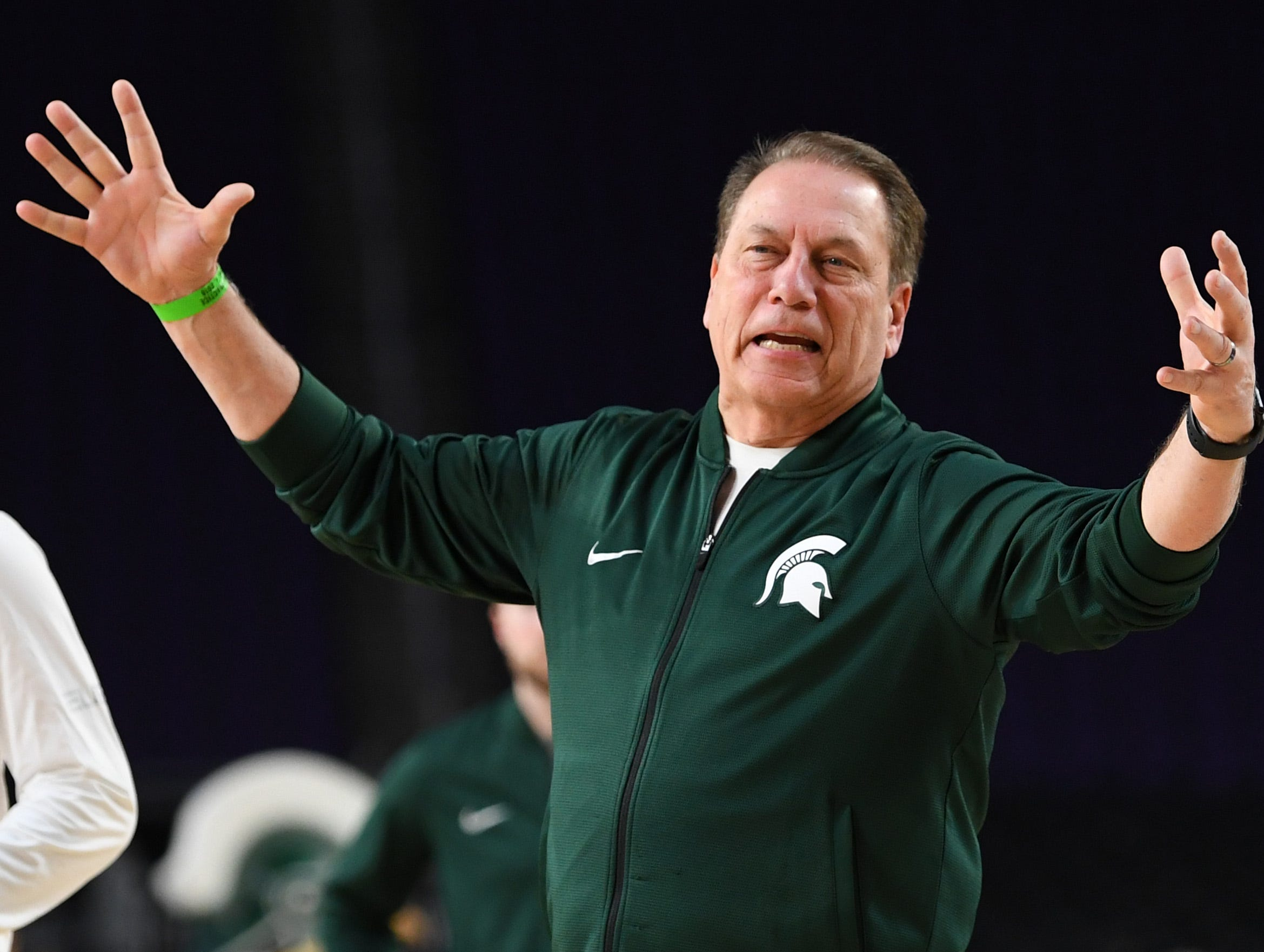 Apr 5, 2019; Minneapolis, MN, USA; Michigan State Spartans head coach Tom Izzo during practice for the 2019 men's Final Four at US Bank Stadium. Mandatory Credit: Bob Donnan-USA TODAY Sports