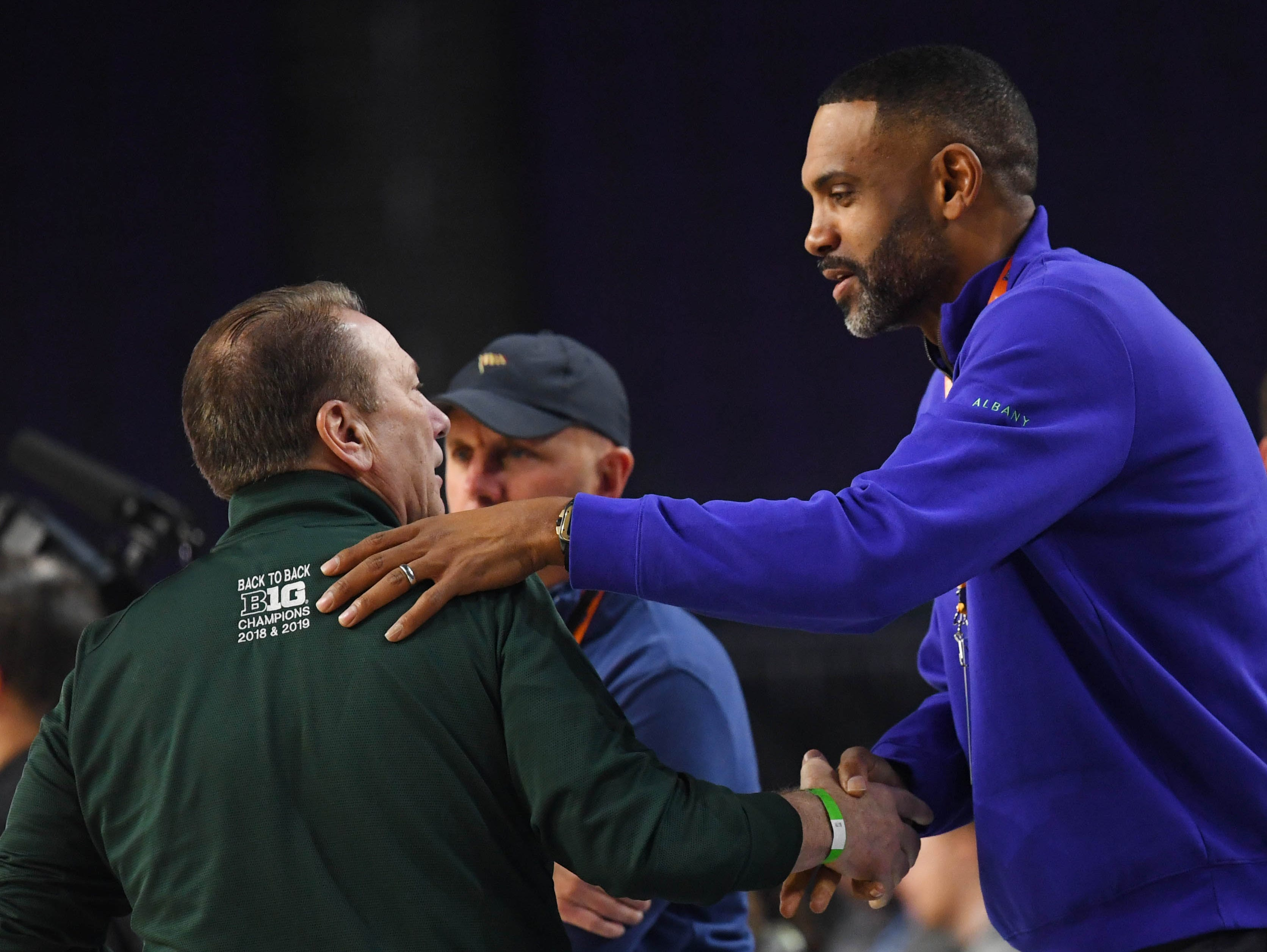 Apr 5, 2019; Minneapolis, MN, USA; Michigan State Spartans head coach Tom Izzo (left) talks with Grant Hill during practice for the 2019 men's Final Four at US Bank Stadium. Mandatory Credit: Robert Deutsch-USA TODAY Sports