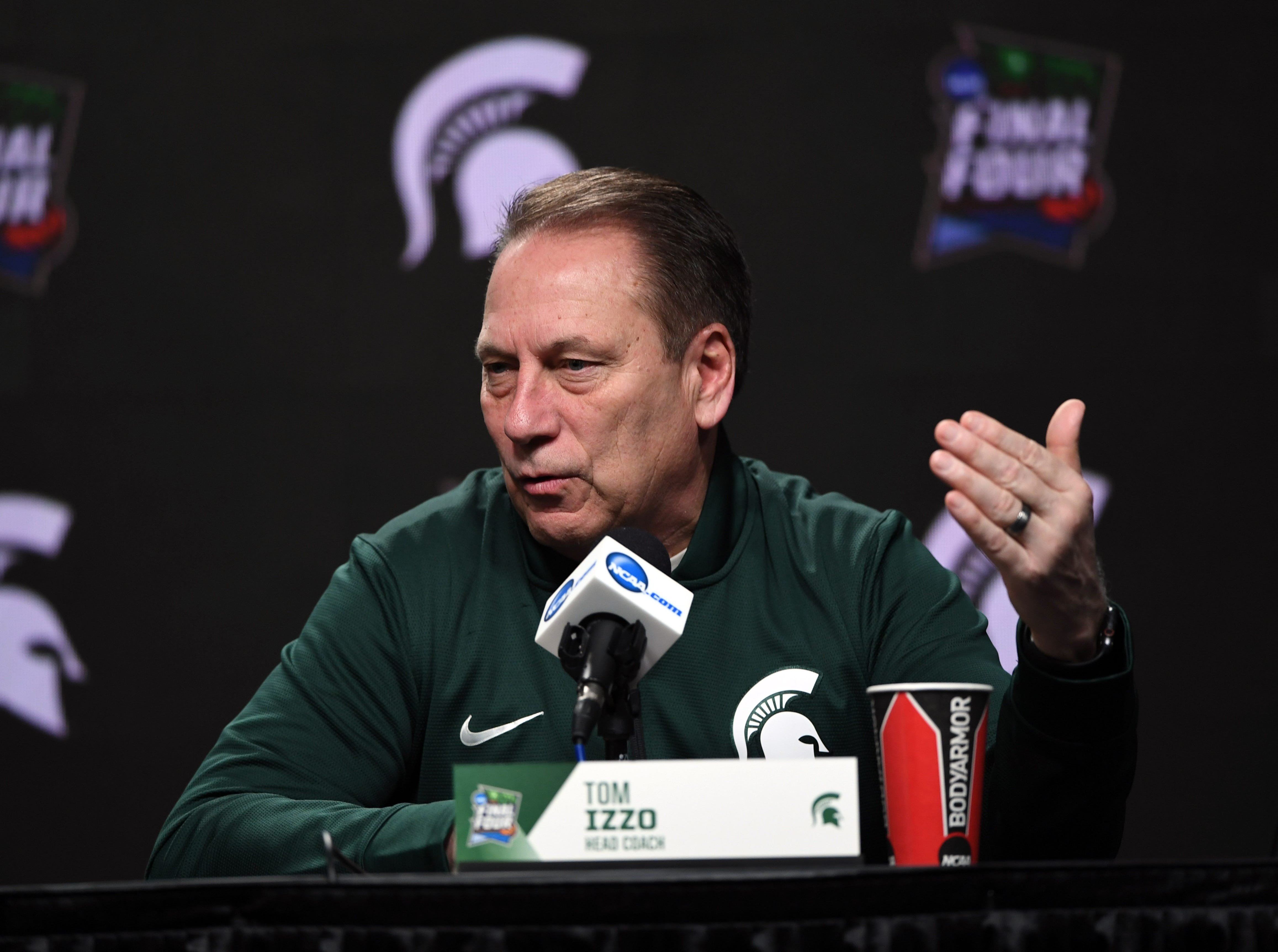 Apr 5, 2019; Minneapolis, MN, USA; Michigan State Spartans head coach Tom Izzo speaks during a press conference before practice for the 2019 men's Final Four at US Bank Stadium. Mandatory Credit: Shanna Lockwood-USA TODAY Sports