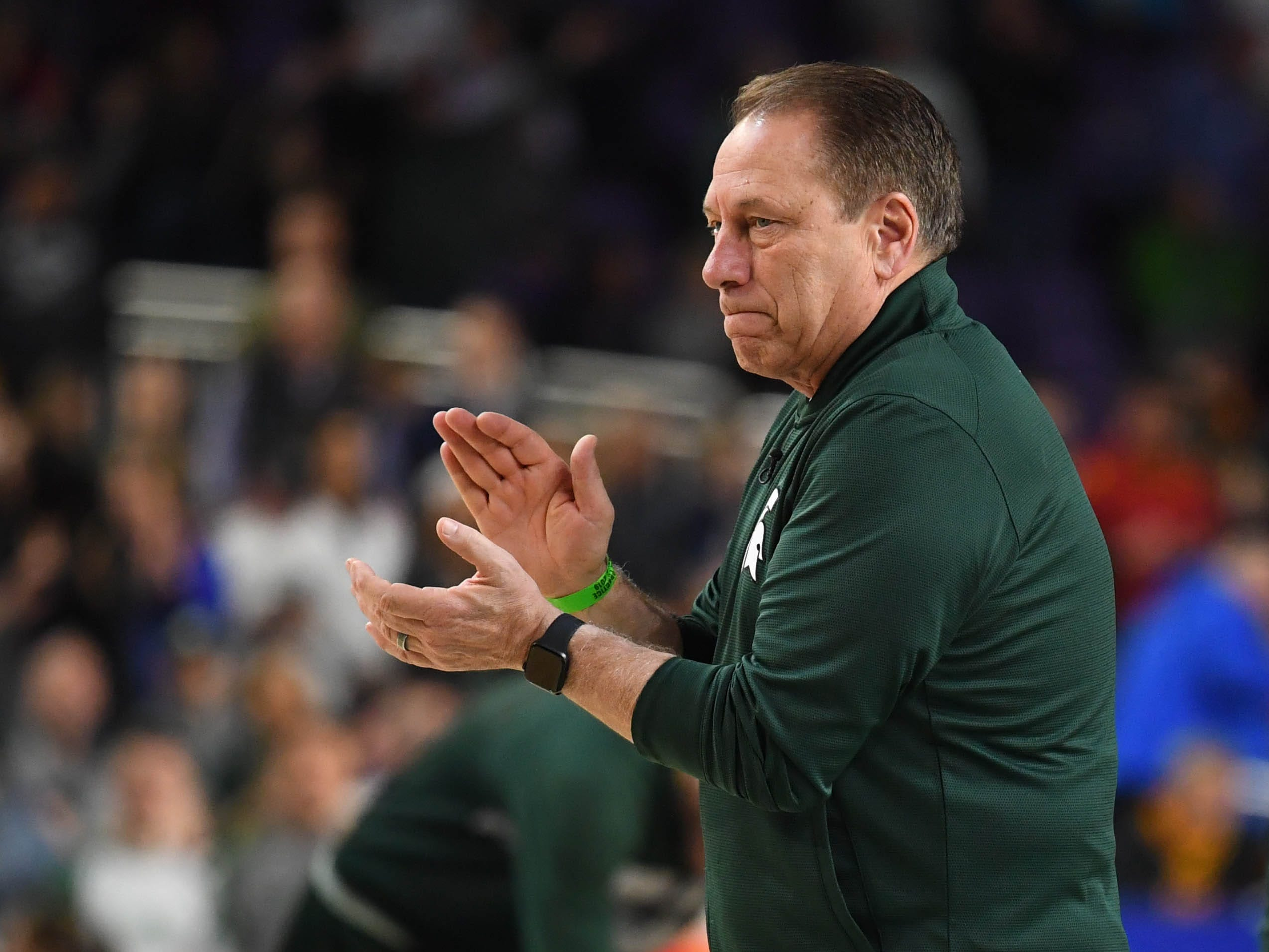 Apr 5, 2019; Minneapolis, MN, USA; Michigan State Spartans head coach Tom Izzo during practice for the 2019 men's Final Four at US Bank Stadium. Mandatory Credit: Robert Deutsch-USA TODAY Sports