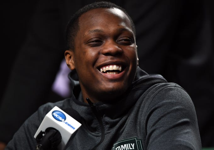Apr 5, 2019; Minneapolis, MN, USA; Michigan State Spartans guard Cassius Winston (5) speaks during a press conference before practice for the 2019 men's Final Four at US Bank Stadium. Mandatory Credit: Shanna Lockwood-USA TODAY Sports
