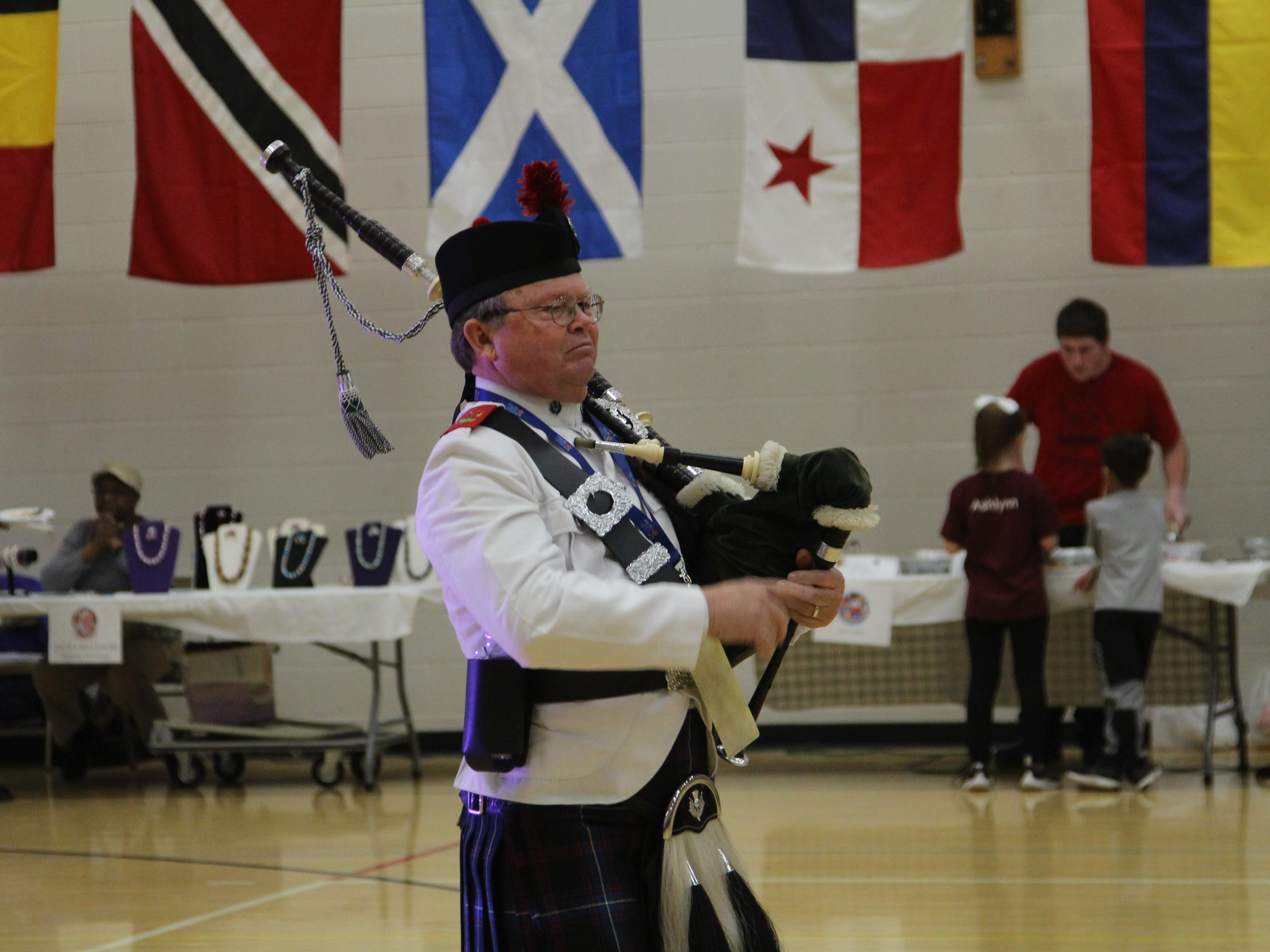 The entertainment at International Festival includes a bagpipe player Thursday at OSU-M's Alber Student Center.