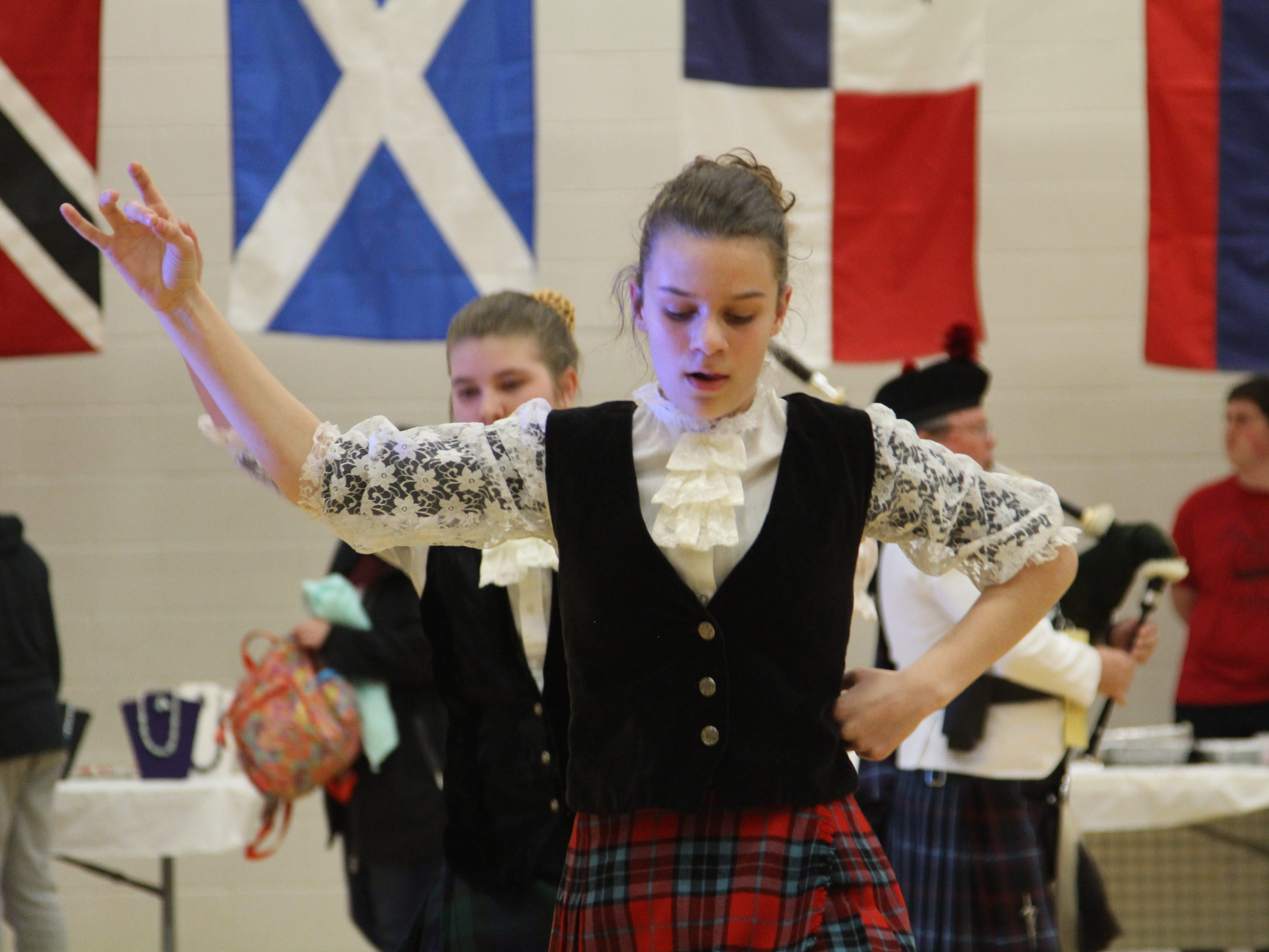 Lily Leavitt performs Thursday at The Ohio State University's Marion campus for the 12th Annual International Festival. She and Lilly Wagner performed a Scottish dance to bagpipe music.