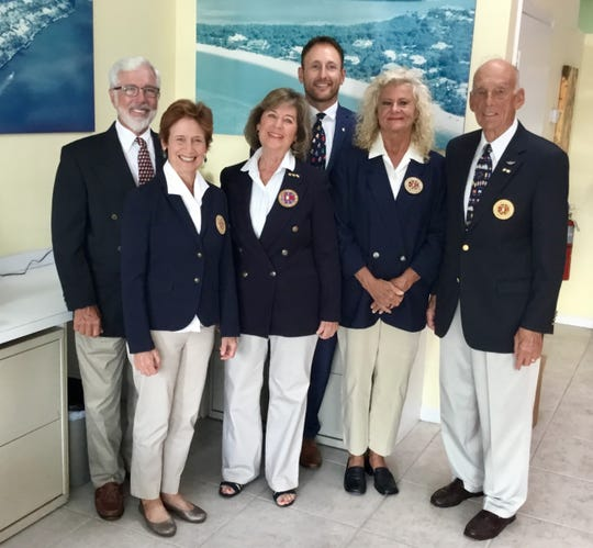 At last months change of command meeting, the Sailing Association of Marco Island (SAMI) appointed new bridge members for the coming year. From left, Rob Reiley, fleet captain; Leigh Breeden, secretary; Micki Gobeil, commodore; Trudell Kolpack, rear commodore; Tara Lagrand, treasurer; and Peter Coggins, vice commodore.