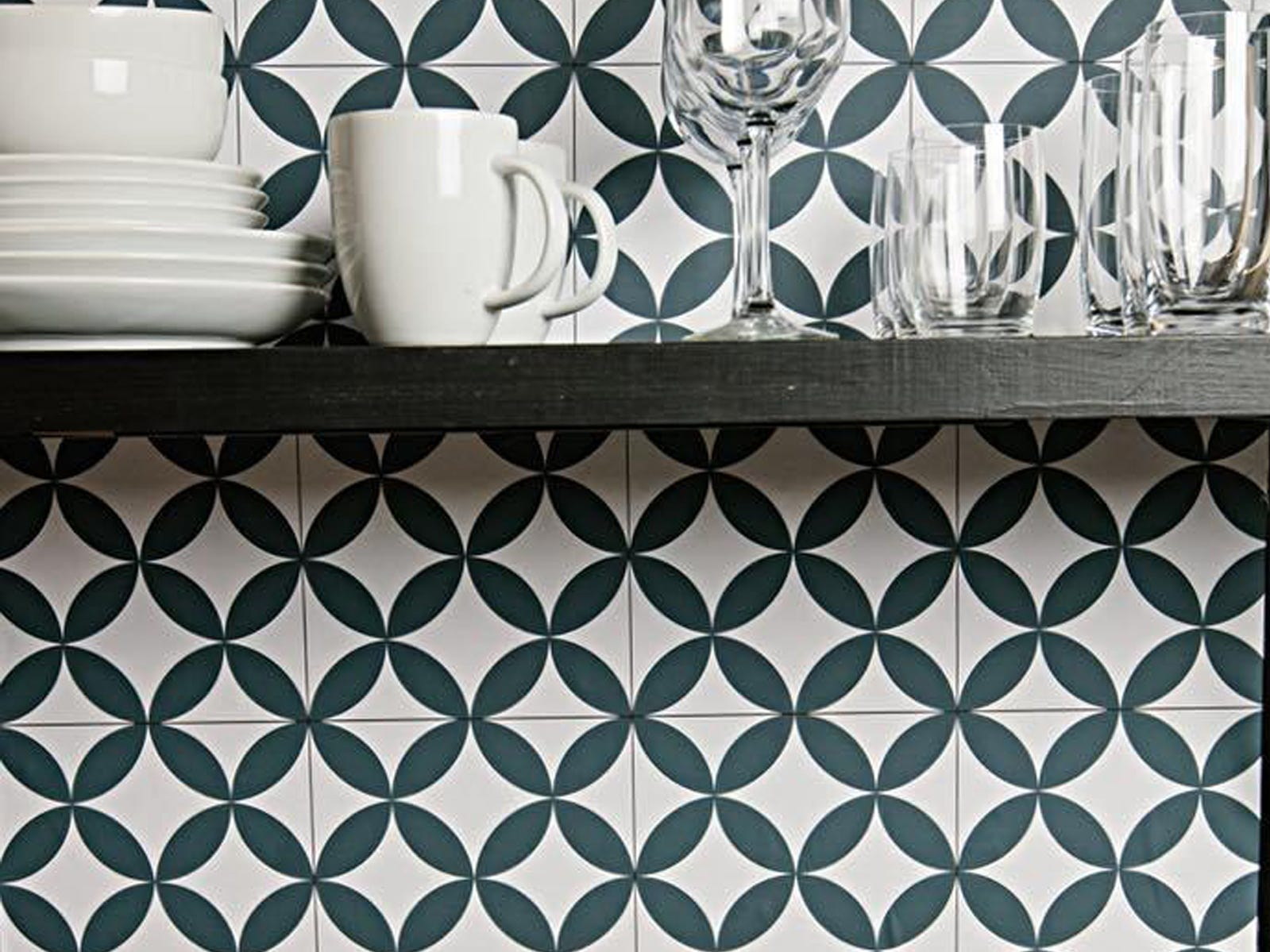 Chasing Paper, a Milwaukee company, offers a line of removable wallpaper. This is its Farmhouse Tile pattern.