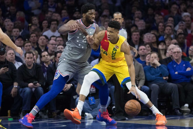 The Bucks' Giannis Antetokounmpo and 76ers' Joel Embiid will meet again in a marquee Christmas game Wednesday.