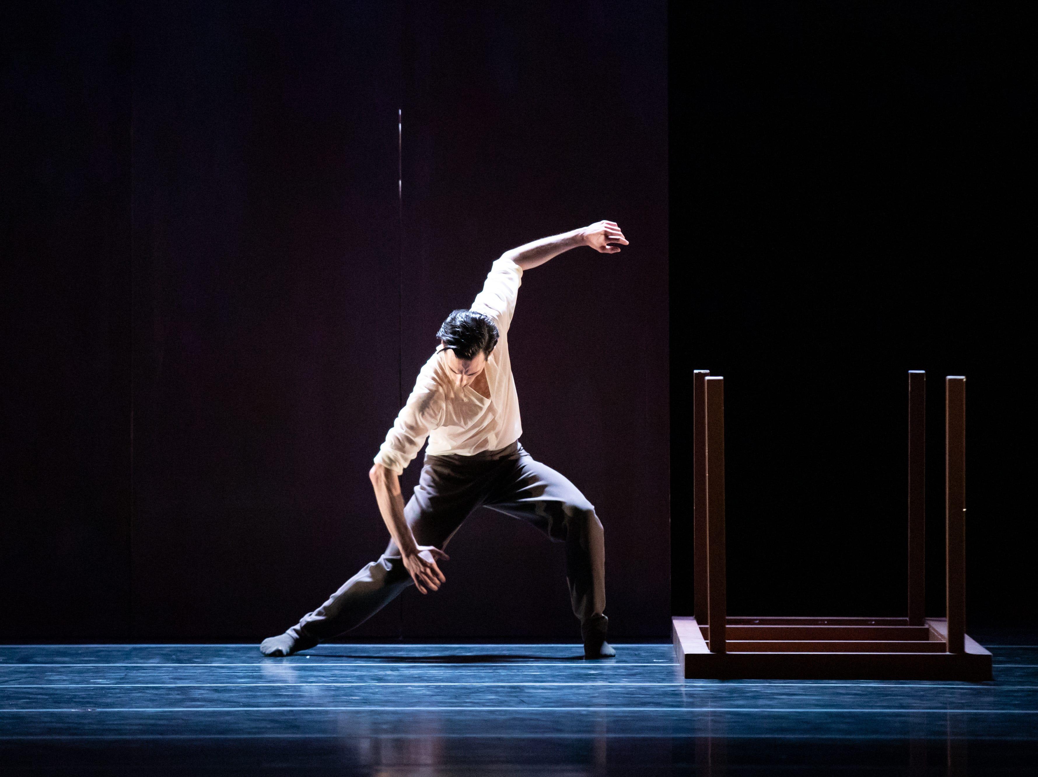 "Garrett Glassman dances in Milwaukee Ballet's production of Enrico Morelli's ""Compieta."""