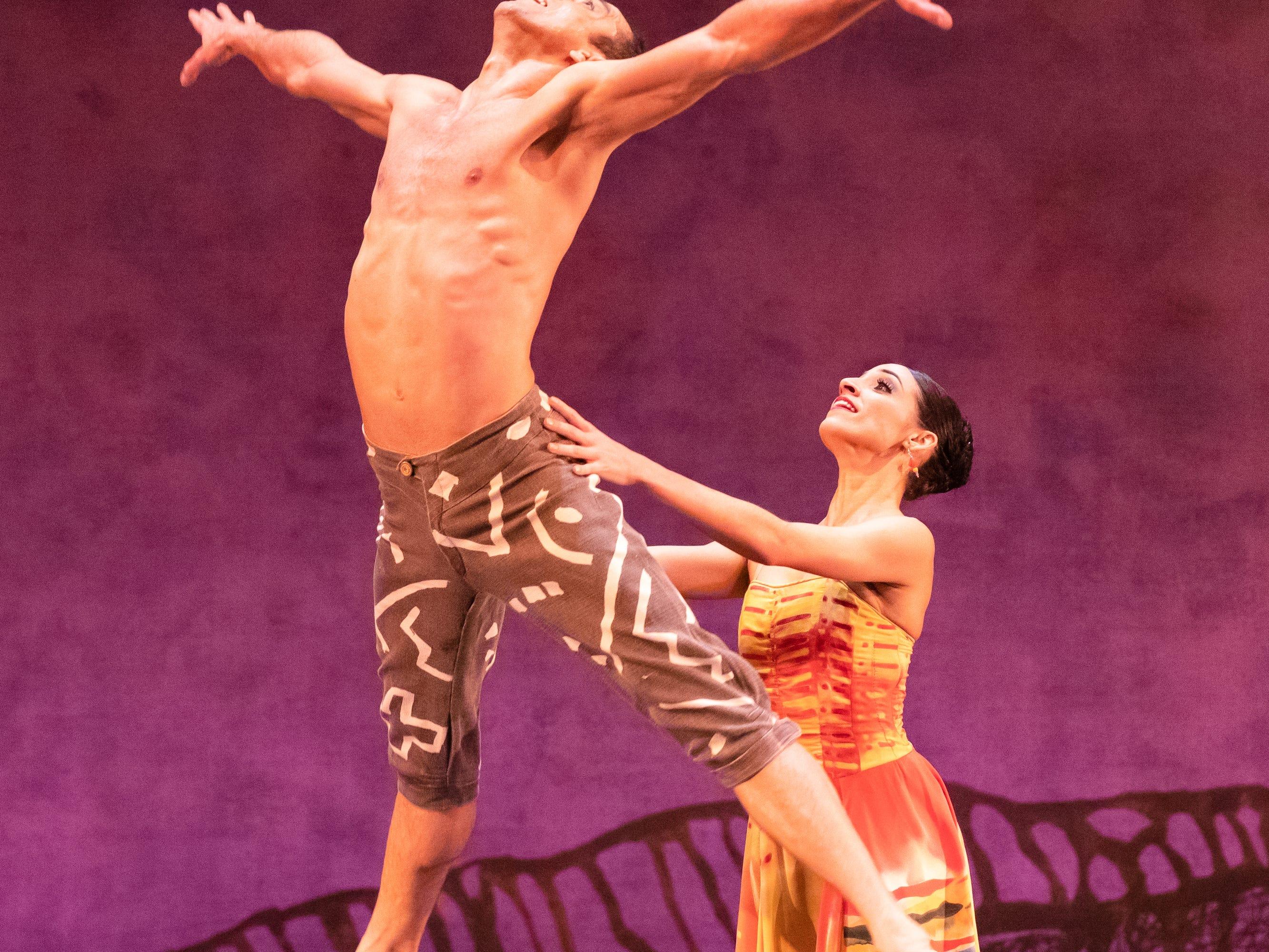 "Davit Hovhannisyan and Marize Fumero dance in Milwaukee Ballet's production of ""Lambarena."""