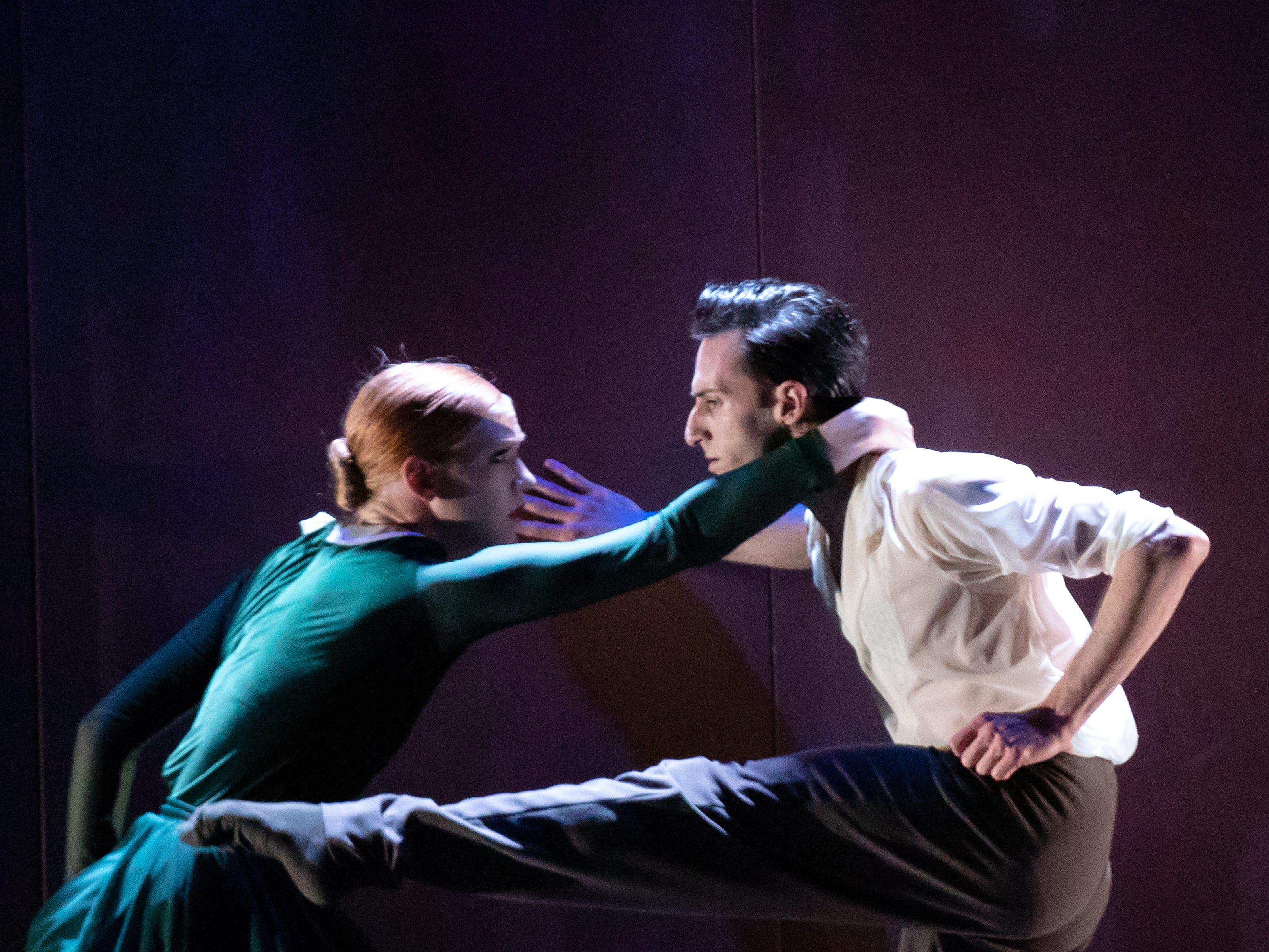 "Lizzie Tripp and Garrett Glassman dance in Milwaukee Ballet's production of Enrico Morelli's ""Compieta."""
