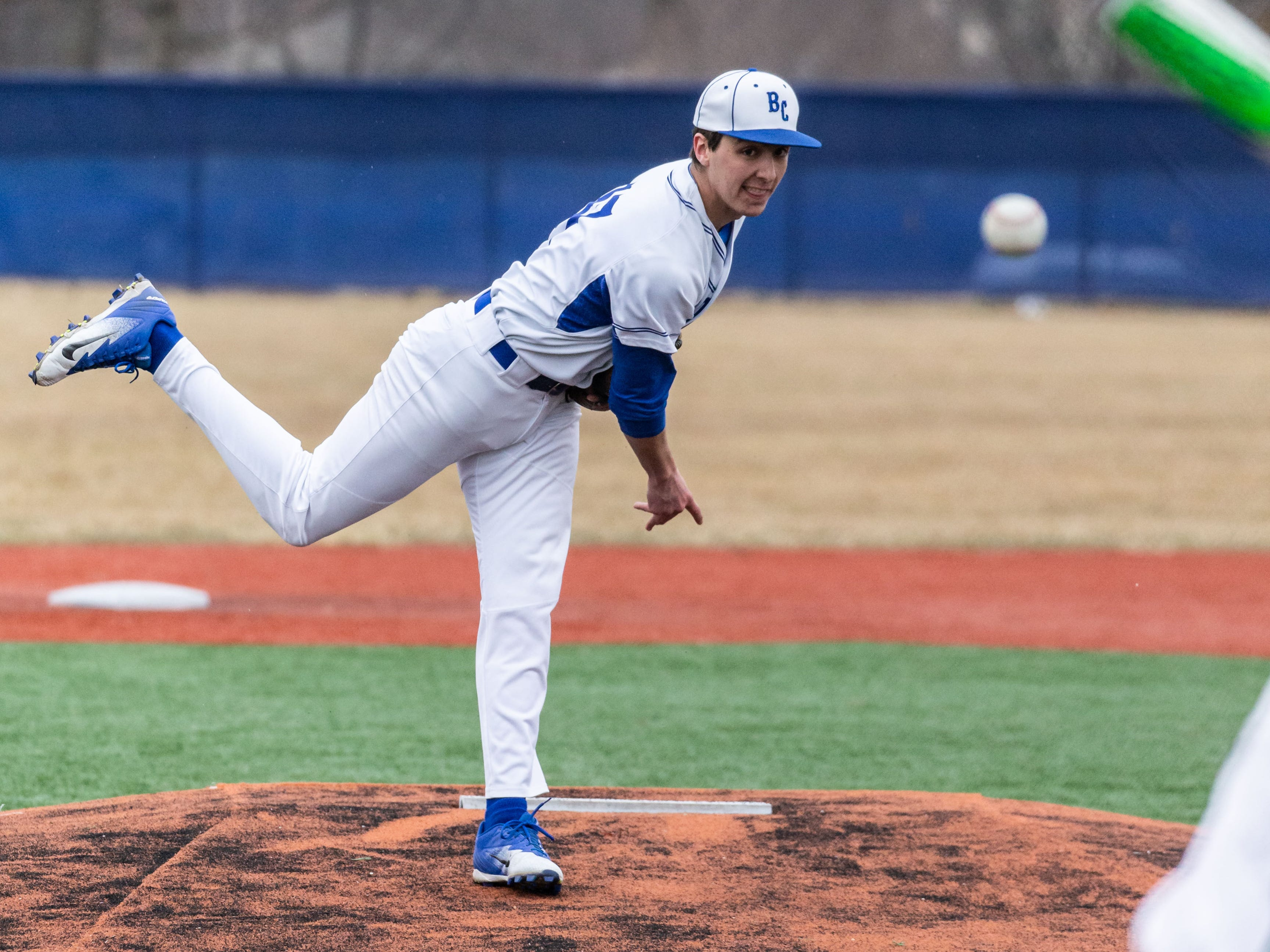 Brookfield Central's Colin Szymborski (17) delivers a pitch during the game at home against Wauwatosa West on Thursday, April 4, 2019.