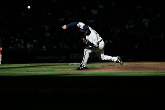 Milwaukee Brewers' Trevor Hoffman makes his final appearance at home for the season against the Florida Marlins at Miller Park Sunday, September 26, 2010.