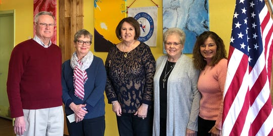 The Baxter County Democratic Club recently installed officers for 2019.  Pictured are: (from left) John Barnes, Chairman; Cynthia Martin, 1st Vice Chairman; Cheryl Munson-Beall, 2nd Vice Chairman; Glenda Bodenhamer, Secretary; Jaime Brantley, Treasurer. Not pictured: Bob Bodenhamer, who was selected to represent the Democrats on the County Election Commission. The club meets the fourth Saturday of the month at 9 a.m. at The Cookhouse Restaurant.
