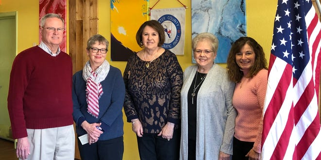 The Baxter County Democratic Club recently installed officers for 2019. Pictured are: (from left)John Barnes, Chairman; Cynthia Martin, 1st Vice Chairman; Cheryl Munson-Beall, 2nd Vice Chairman; Glenda Bodenhamer,Secretary; Jaime Brantley, Treasurer. Not pictured:Bob Bodenhamer, who was selected to represent the Democrats on the County Election Commission.The club meets the fourth Saturday of the month at 9 a.m. at The Cookhouse Restaurant.