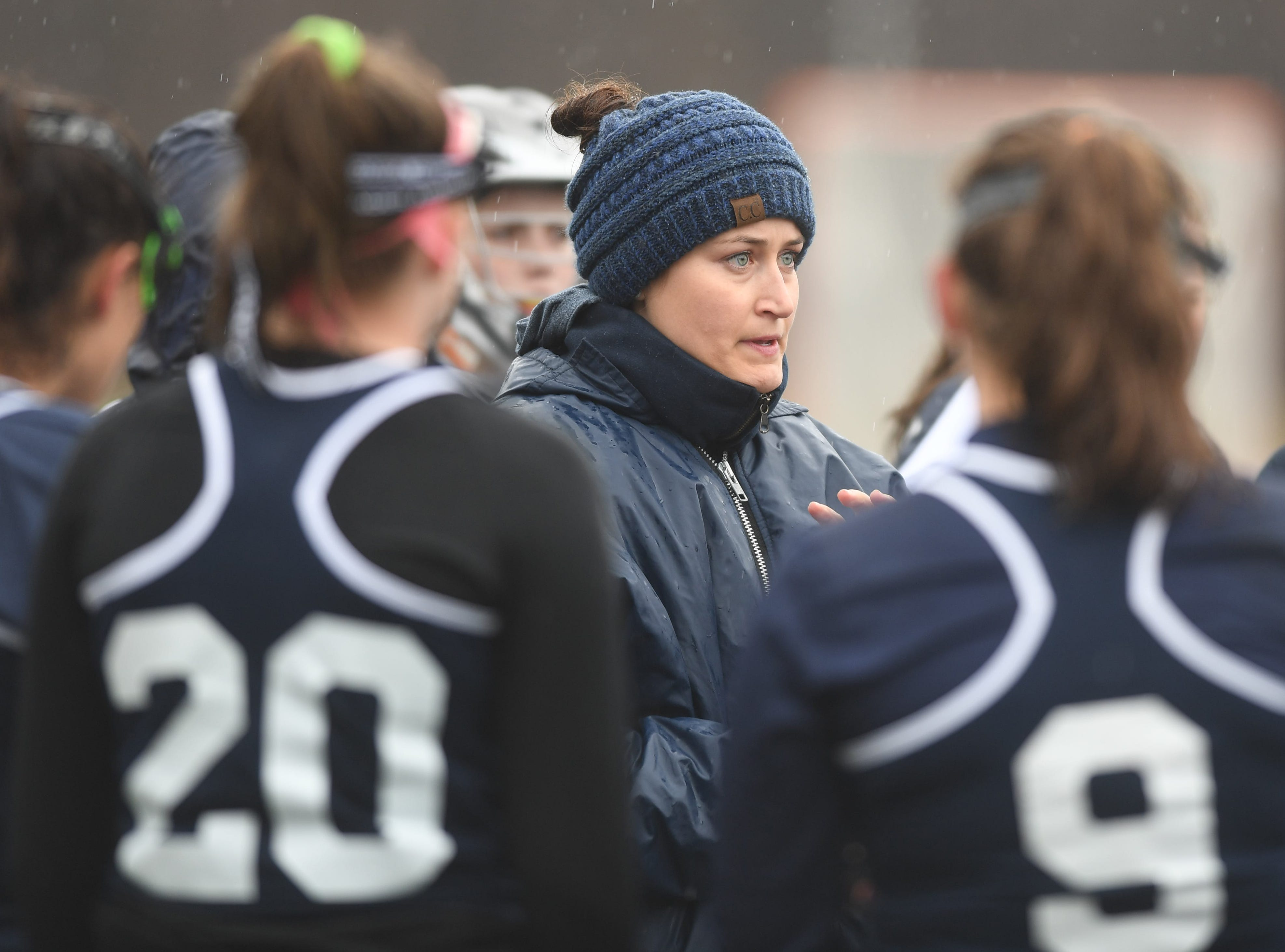 Randolph girls lacrosse at Roxbury on Friday, April 5, 2019. Randolph head coach Brittany Bryan.