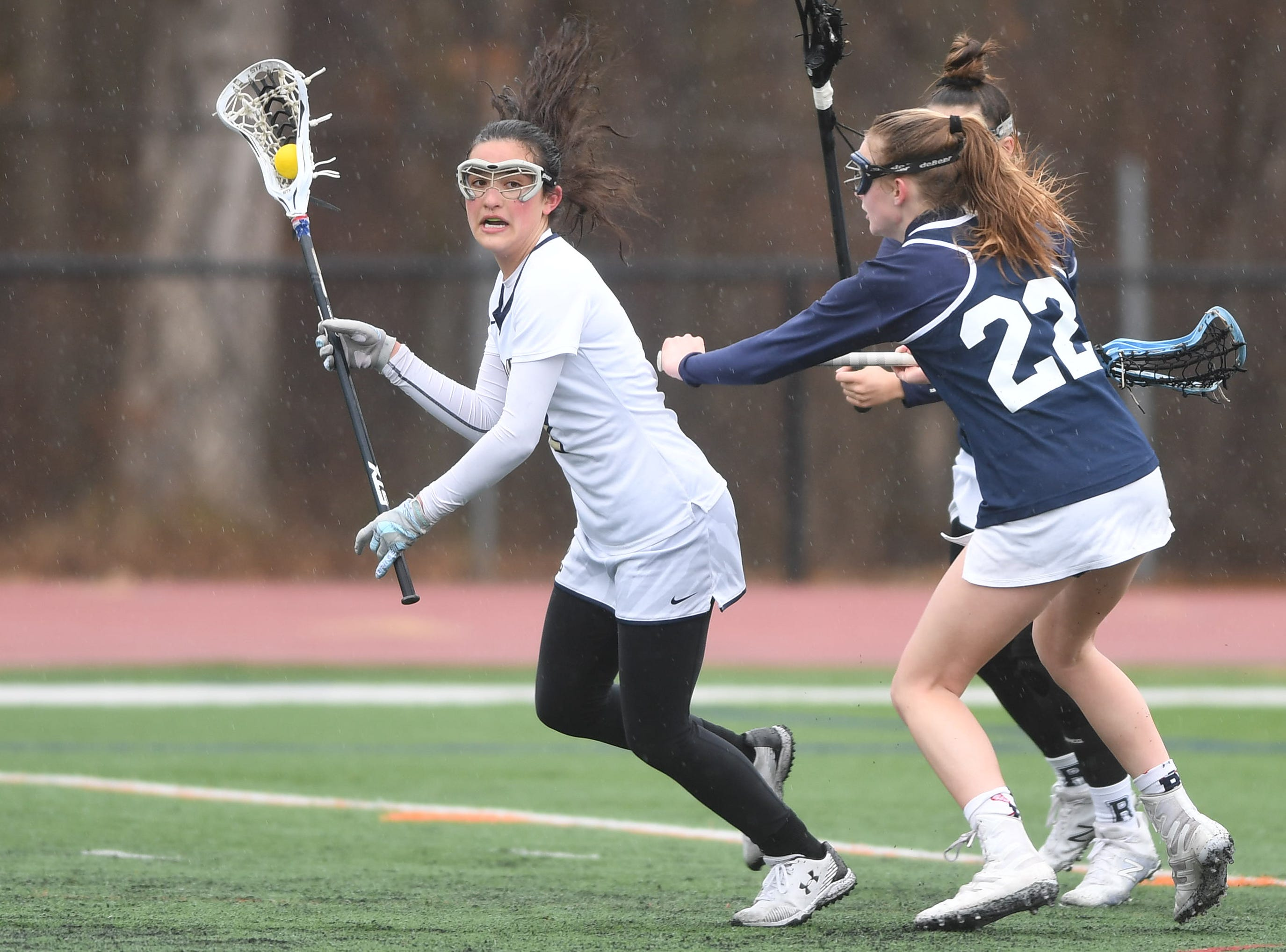 Randolph girls lacrosse at Roxbury on Friday, April 5, 2019. Roxbury  #2 Emily Stanich.