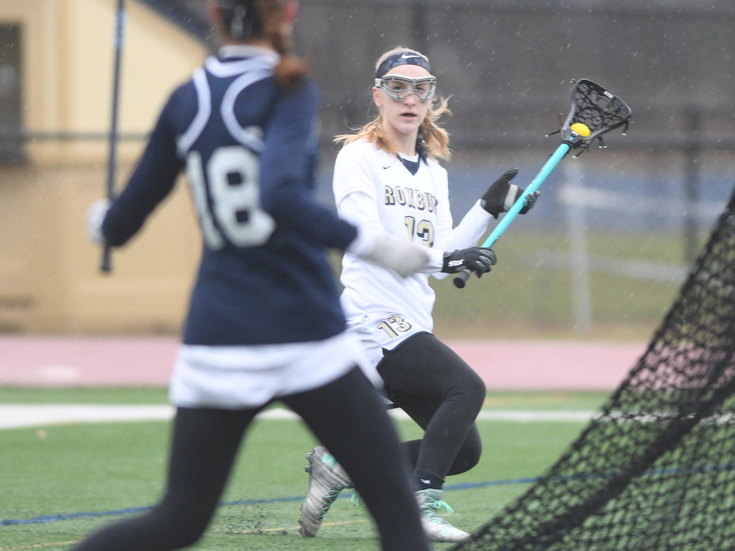Randolph girls lacrosse at Roxbury on Friday, April 5, 2019. Roxbury #13 Deanna Maugeri.