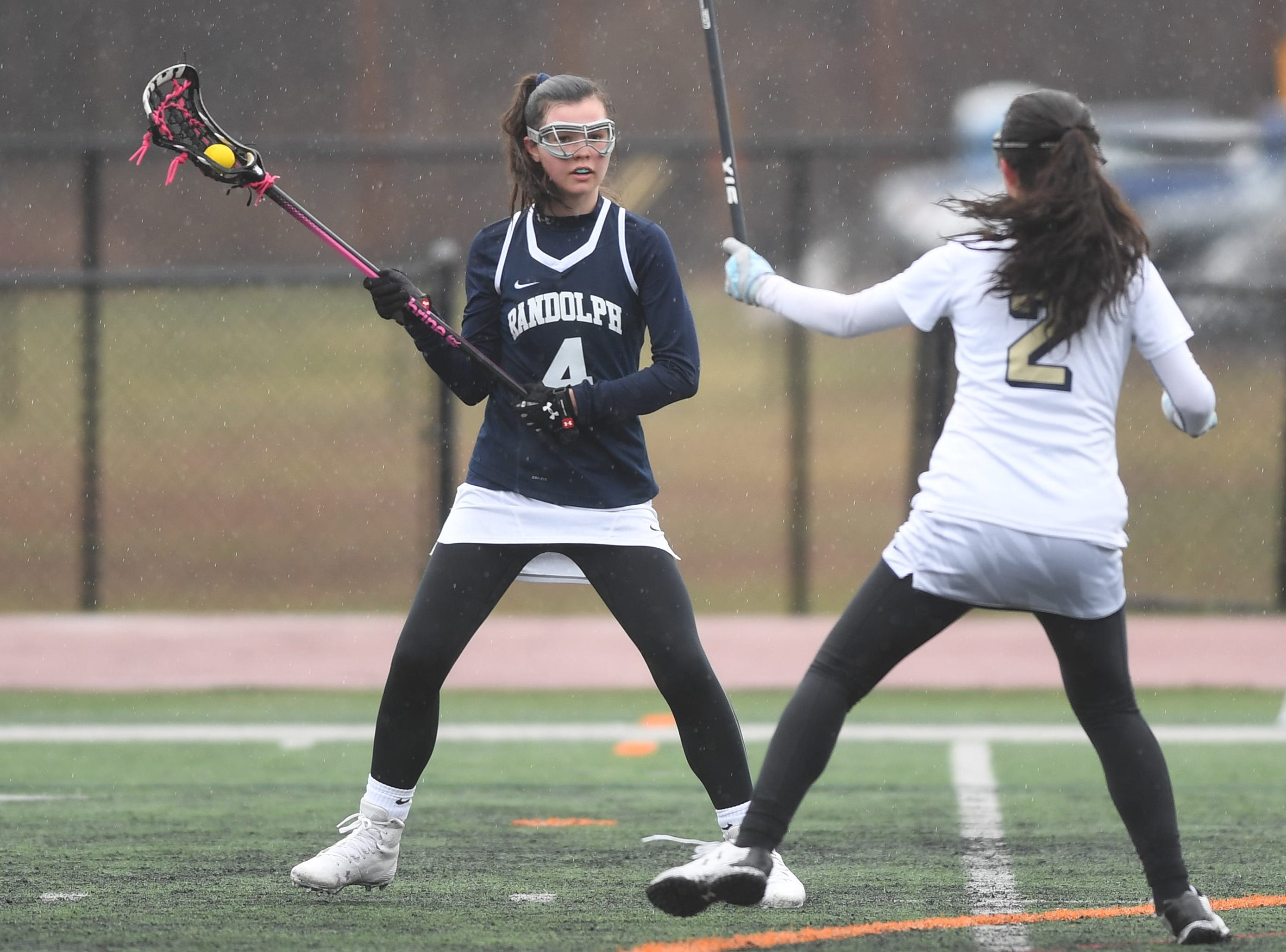Randolph girls lacrosse at Roxbury on Friday, April 5, 2019. Randolph #4 Abby McConvery.