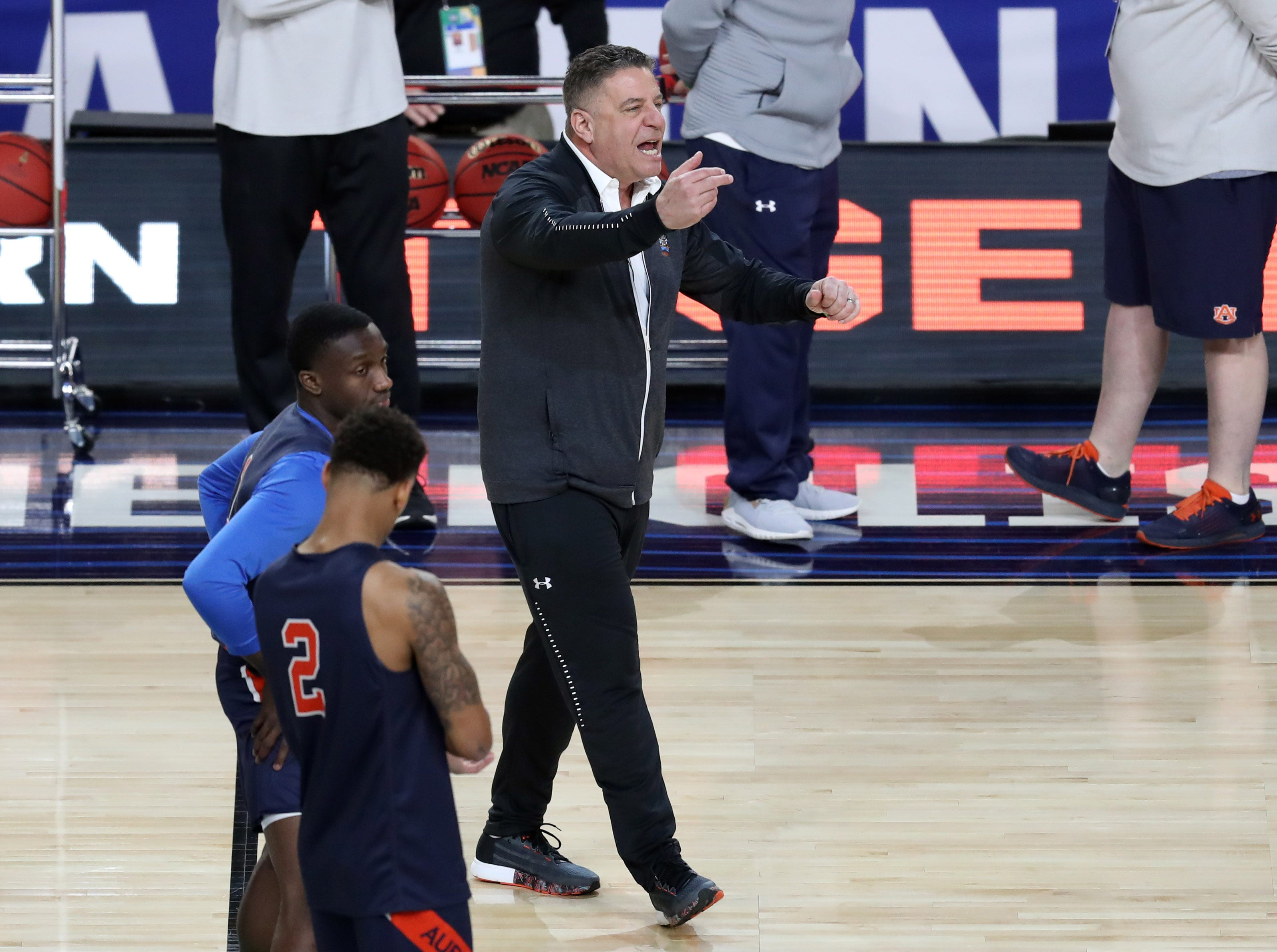 Apr 5, 2019; Minneapolis, MN, USA; Auburn Tigers head coach Bruce Pearl during practice for the 2019 men's Final Four at US Bank Stadium. Mandatory Credit: Brace Hemmelgarn-USA TODAY Sports