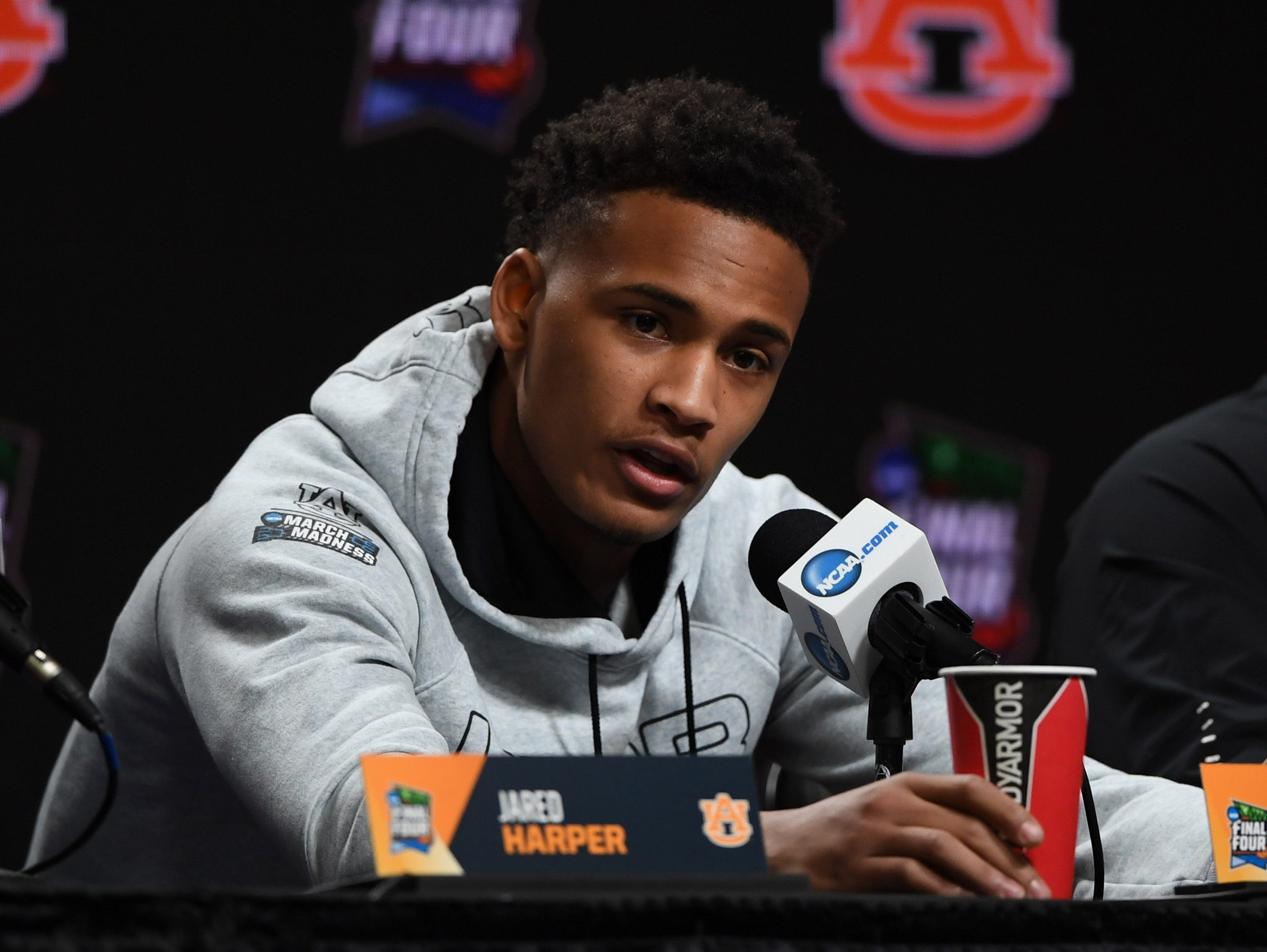 Apr 5, 2019; Minneapolis, MN, USA; Auburn Tigers guard Bryce Brown (2) during a press conference before practice for the 2019 men's Final Four at US Bank Stadium. Mandatory Credit: Shanna Lockwood-USA TODAY Sports
