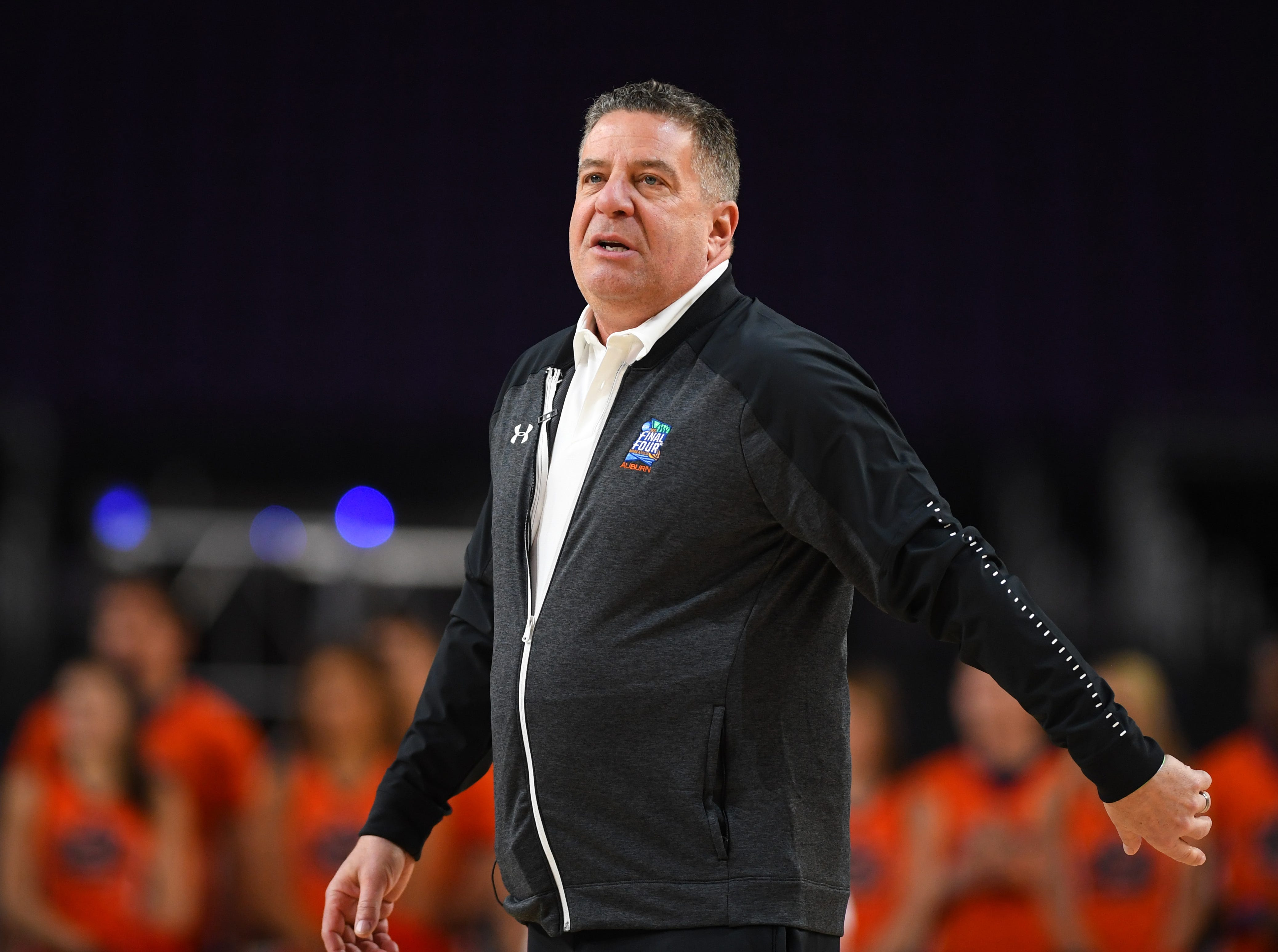 Apr 5, 2019; Minneapolis, MN, USA; Auburn Tigers head coach Bruce Pearl during practice for the 2019 men's Final Four at US Bank Stadium. Mandatory Credit: Bob Donnan-USA TODAY Sports