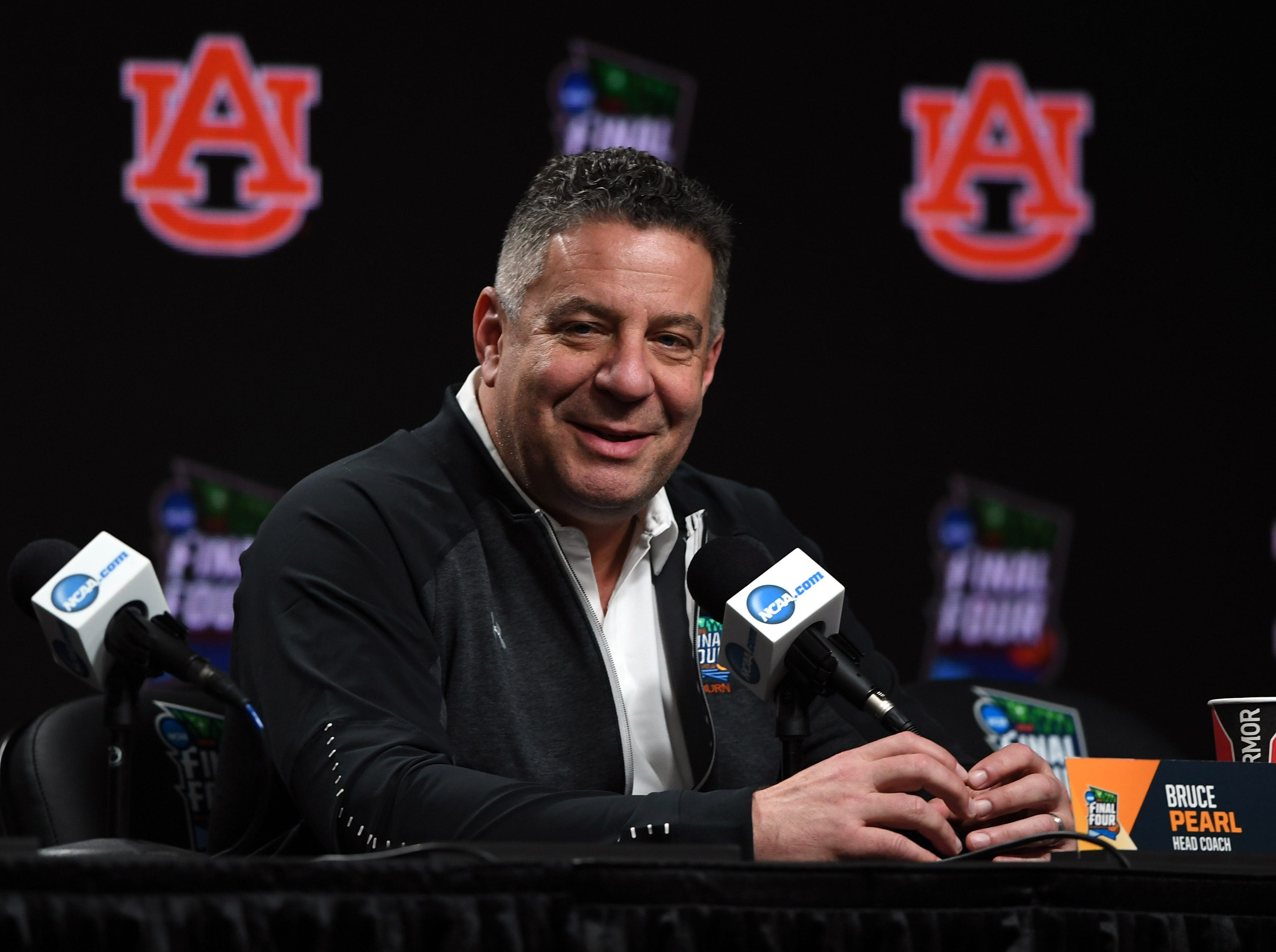 Apr 5, 2019; Minneapolis, MN, USA; Auburn Tigers head coach Bruce Pearl during a press conference before practice for the 2019 men's Final Four at US Bank Stadium. Mandatory Credit: Shanna Lockwood-USA TODAY Sports