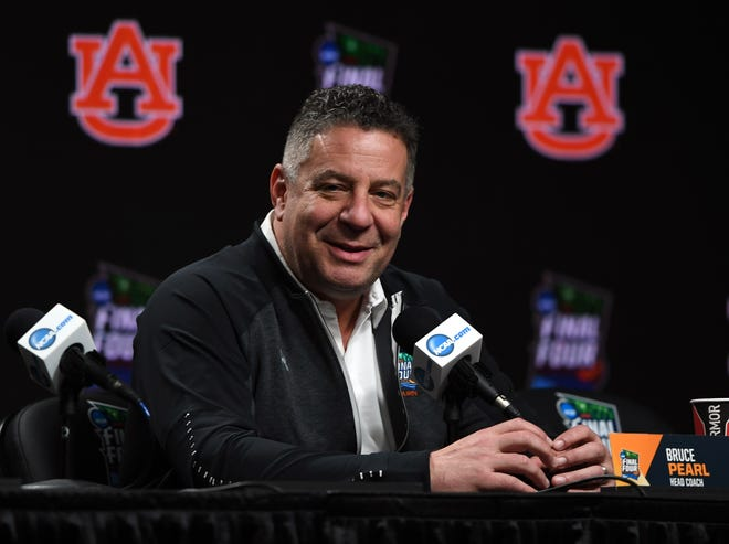 Auburn head coach Bruce Pearl during a press conference before practice for the 2019 men's Final Four at US Bank Stadium in Minneapolis on April 5, 2019.