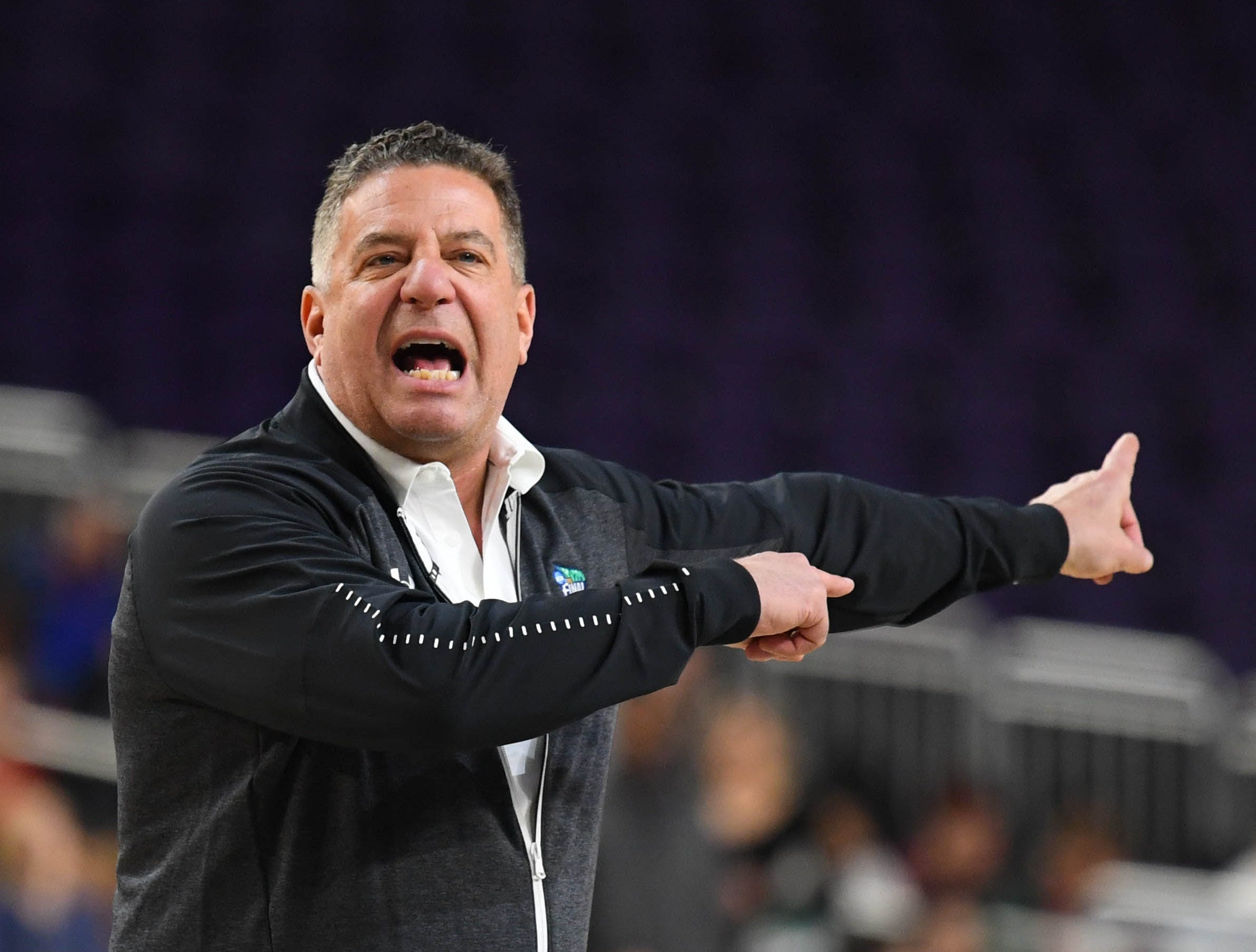 Apr 5, 2019; Minneapolis, MN, USA; Auburn Tigers head coach Bruce Pearl during practice for the 2019 men's Final Four at US Bank Stadium. Mandatory Credit: Robert Deutsch-USA TODAY Sports
