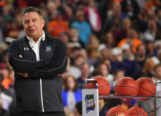 Auburn head coach Bruce Pearl during practice for the 2019 men's Final Four at US Bank Stadium on April 5, 2019, in Minneapolis.