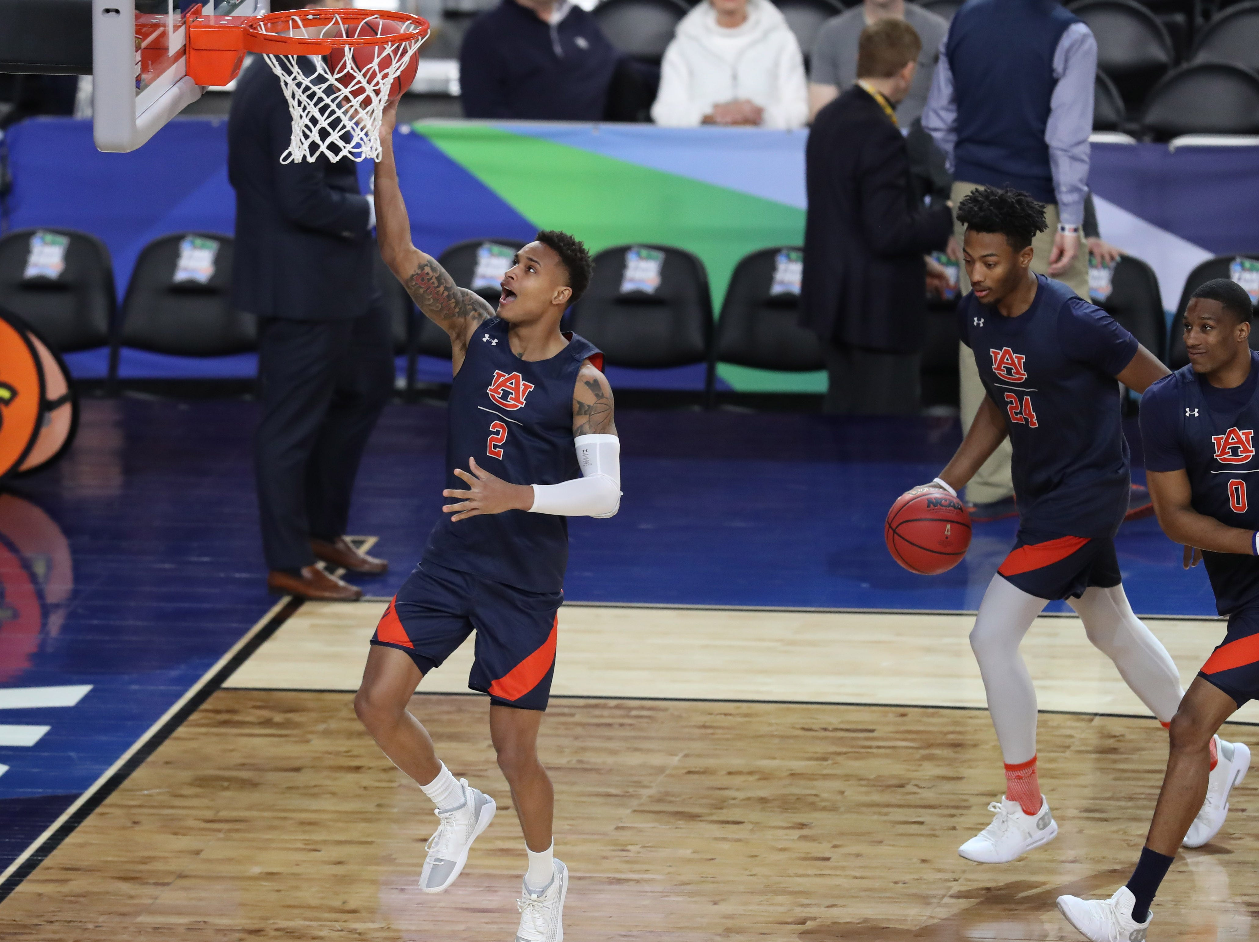 Apr 5, 2019; Minneapolis, MN, USA; Auburn Tigers guard Bryce Brown (2) shoots the ball during practice for the 2019 men's Final Four at US Bank Stadium. Mandatory Credit: Brace Hemmelgarn-USA TODAY Sports