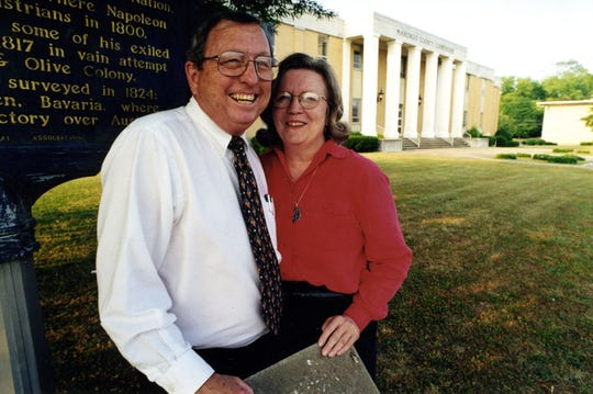 File photo shows Goodloe and Jean Sutton. Once hailed as a crusading Southern newspaper editor, Sutton won accolades along with his late wife Jean for covering local corruption involving a former Marengo County sheriff, Roger Davis, in the 1990s.