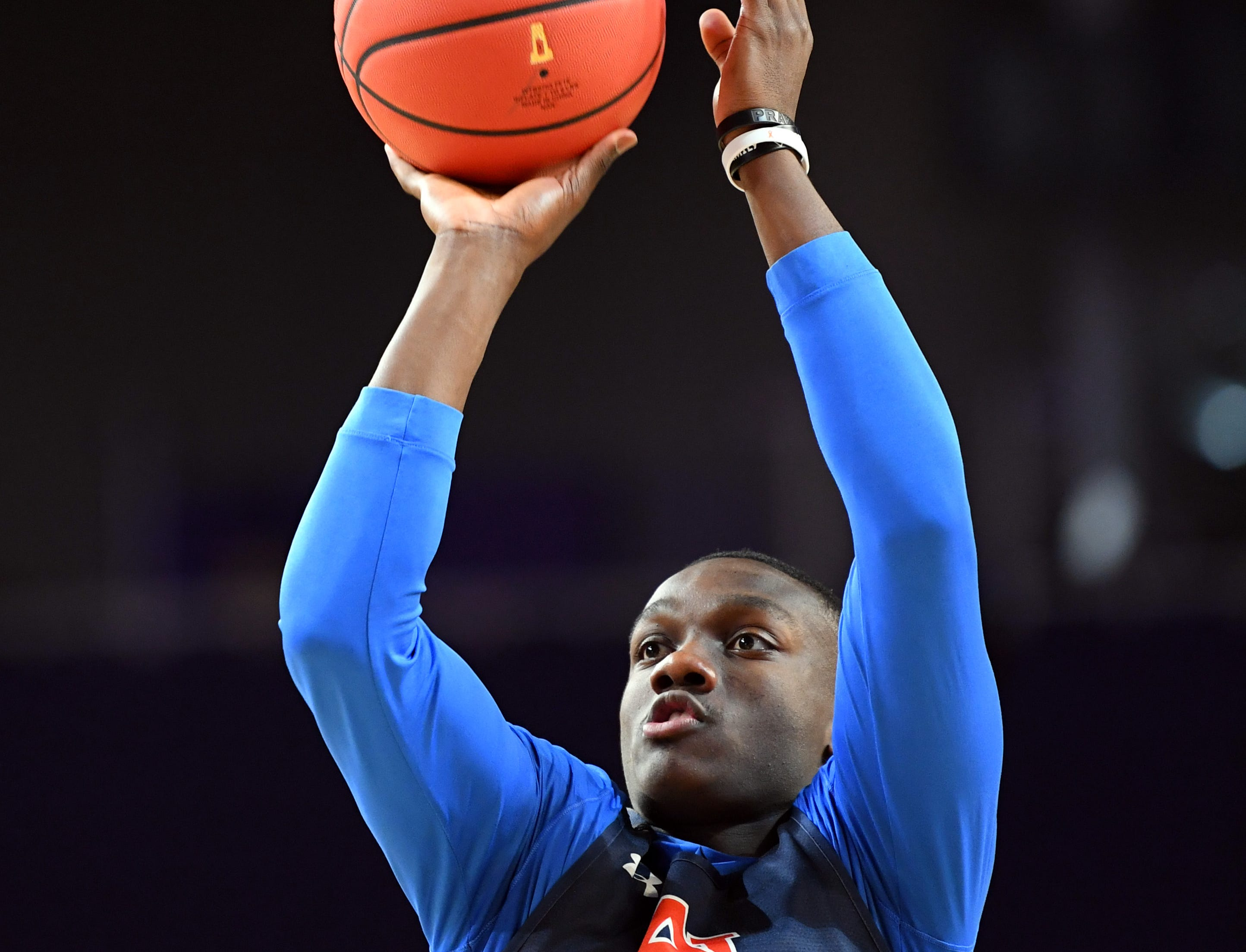 Apr 5, 2019; Minneapolis, MN, USA; Auburn Tigers guard Jared Harper (1) during practice for the 2019 men's Final Four at US Bank Stadium. Mandatory Credit: Bob Donnan-USA TODAY Sports