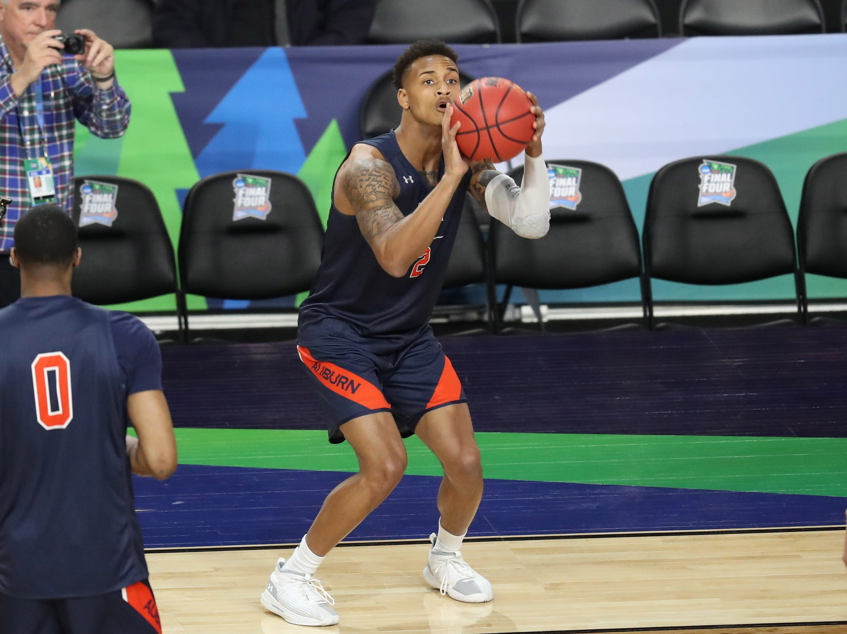 Apr 5, 2019; Minneapolis, MN, USA; Auburn Tigers guard Bryce Brown (2) shoots during practice for the 2019 men's Final Four at US Bank Stadium. Mandatory Credit: Brace Hemmelgarn-USA TODAY Sports