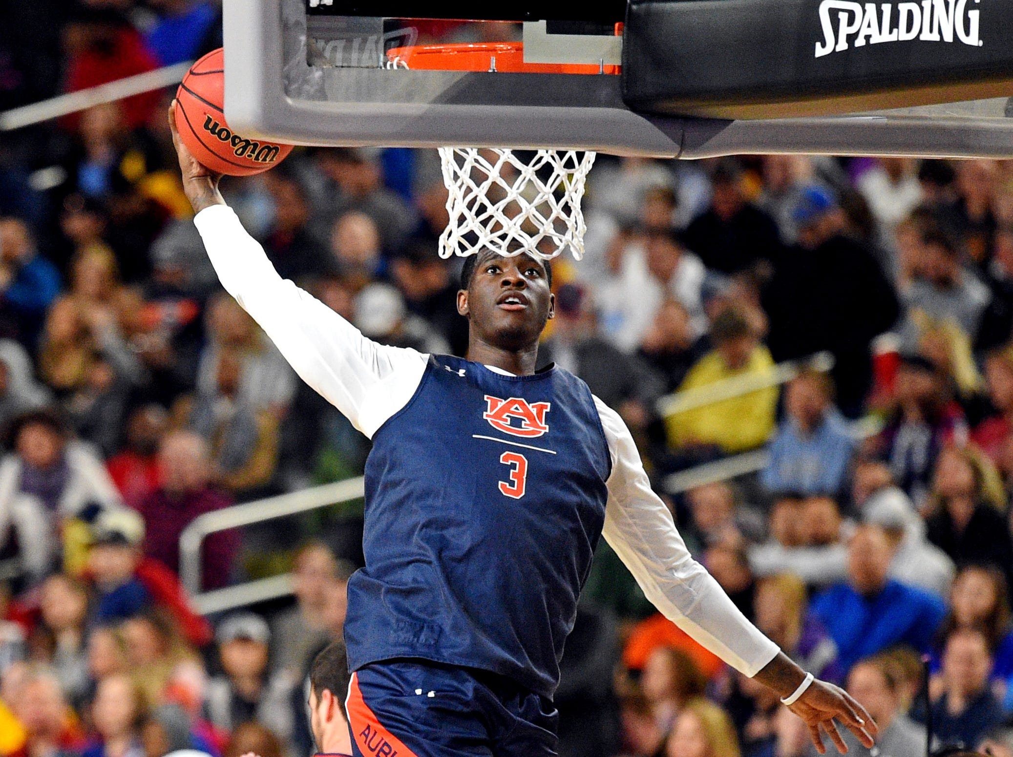 Apr 5, 2019; Minneapolis, MN, USA; Auburn Tigers forward Danjel Purifoy (3) dunks the ball during practice for the 2019 men's Final Four at US Bank Stadium. Mandatory Credit: Bob Donnan-USA TODAY Sports