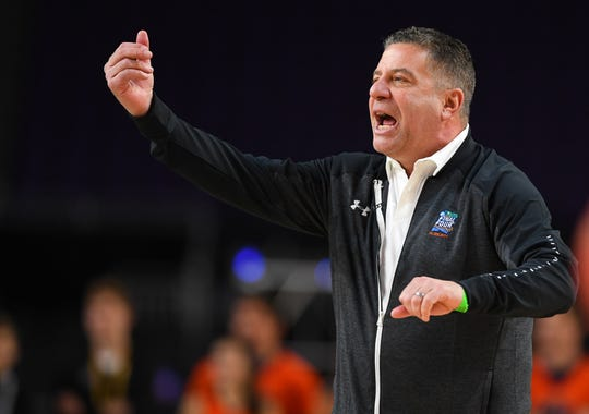 Auburn head coach Bruce Pearl during practice for the Final Four on April 5, 2019, in Minneapolis.