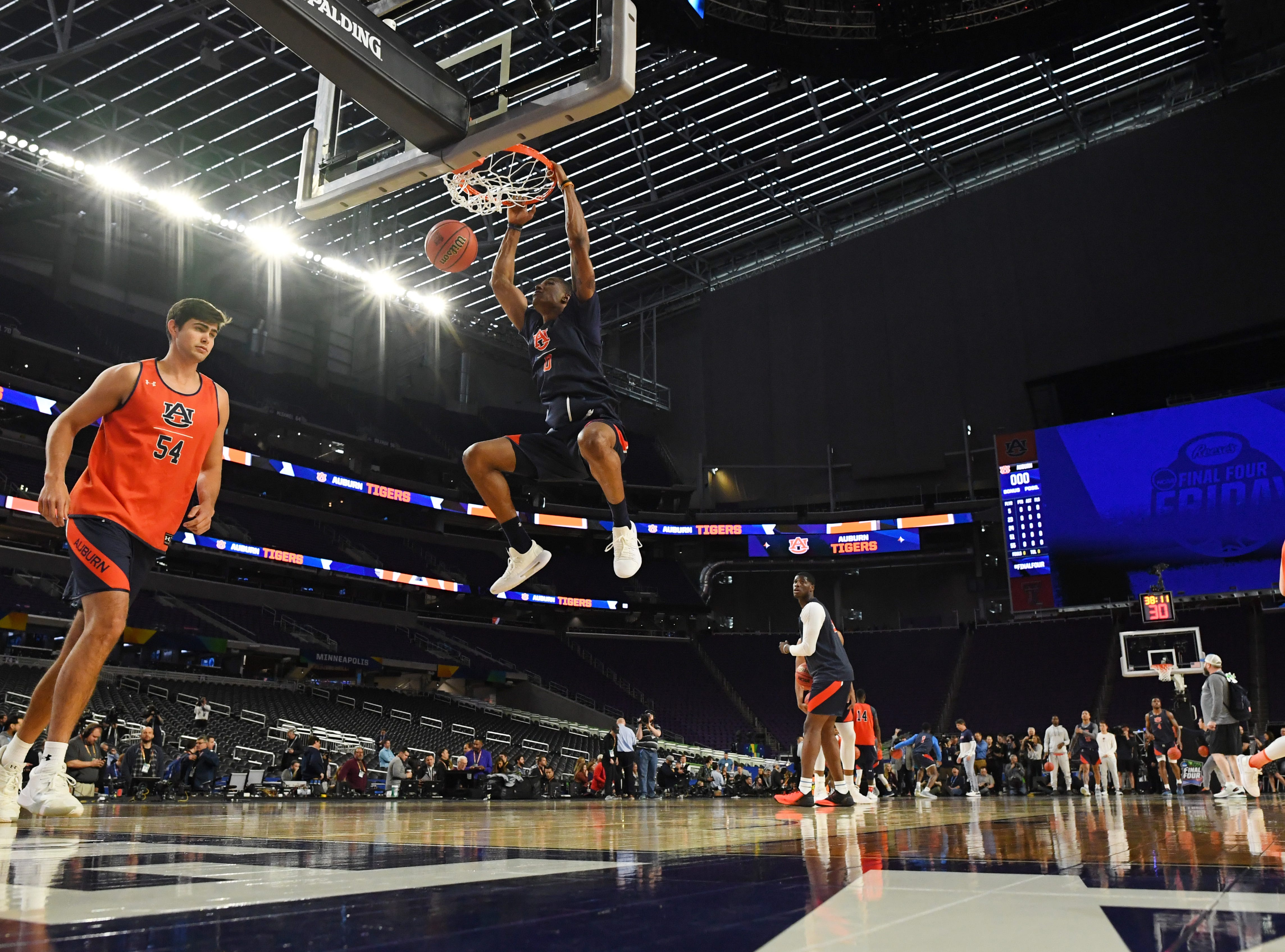 Apr 5, 2019; Minneapolis, MN, USA; Auburn Tigers forward Horace Spencer (0) during practice for the 2019 men's Final Four at US Bank Stadium. Mandatory Credit: Bob Donnan-USA TODAY Sports