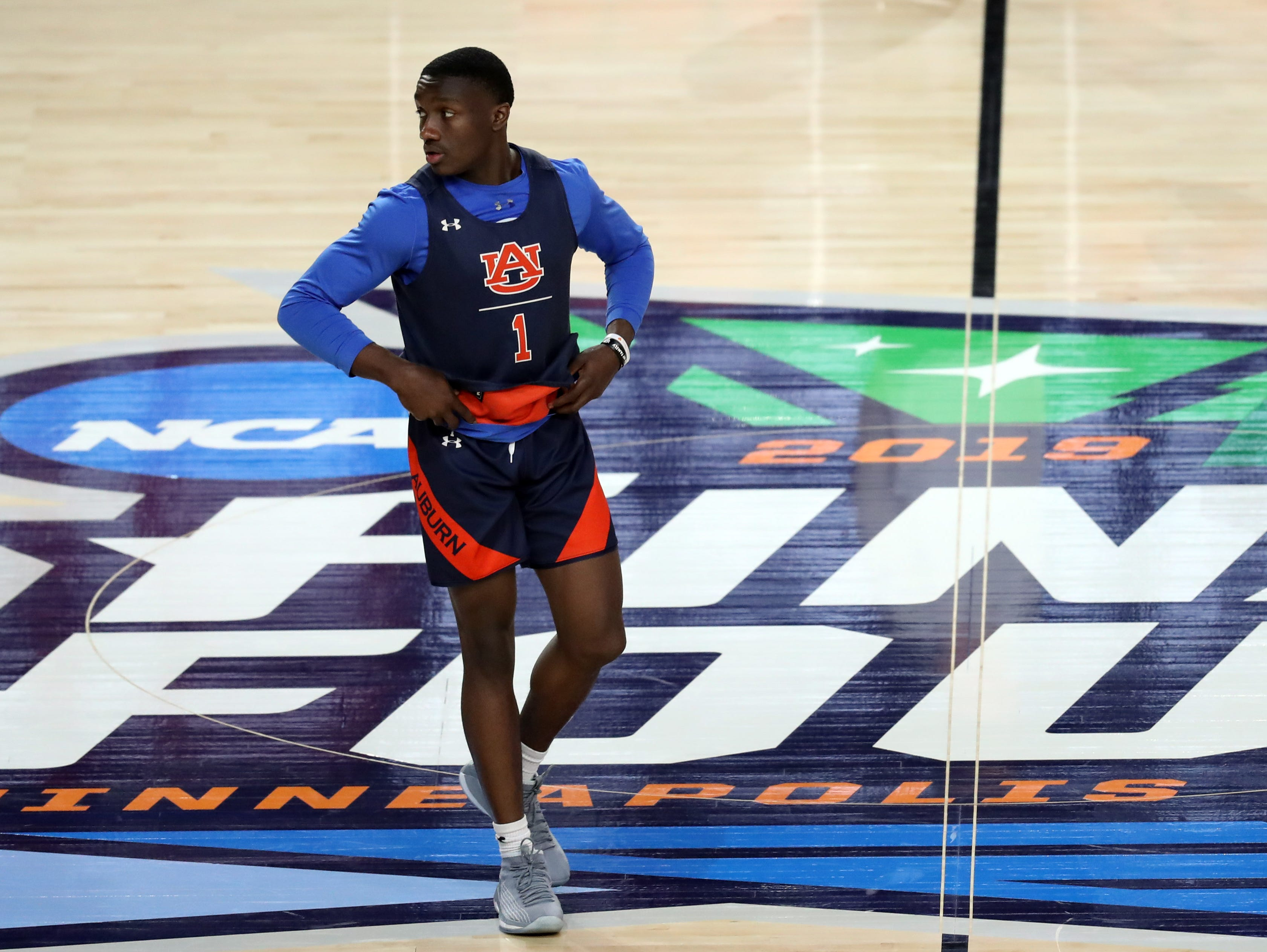 Apr 5, 2019; Minneapolis, MN, USA; Auburn Tigers guard Jared Harper (1) during practice for the 2019 men's Final Four at US Bank Stadium. Mandatory Credit: Brace Hemmelgarn-USA TODAY Sports