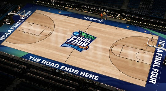 A rendering of the Final Four court in Minneapolis.
