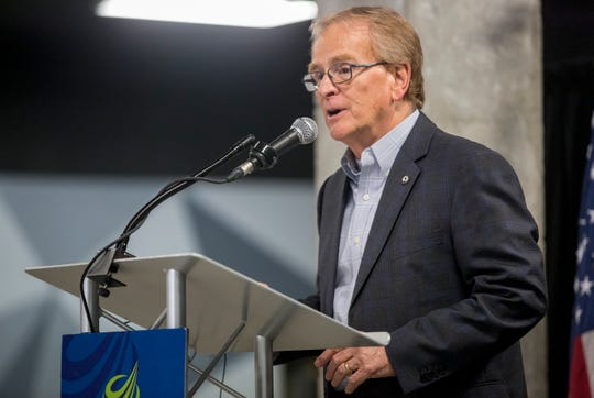Muncie Mayor Dennis Tyler speaks to members of the public during the unveiling that Accutech would be moving downtown after a $5.5 million investment on April 5, 2019. Tyler will be giving his annual State of the City address for the last time on April 16 at the Horizon Convention Center.