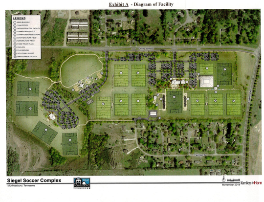 This rendering shows Murfreesboro city plans to improve Siegel Soccer Park for Tennessee State Soccer Association tournaments in a 20-year agreement. The improvements include nine synthetic turf fields, added seating for championships, an indoor soccer facility, classrooms and offices.