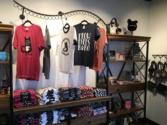 Catfeine Cat Cafe in Murfreesboro has a variety of merchandise for sale, including shirts, mugs and collectibles.